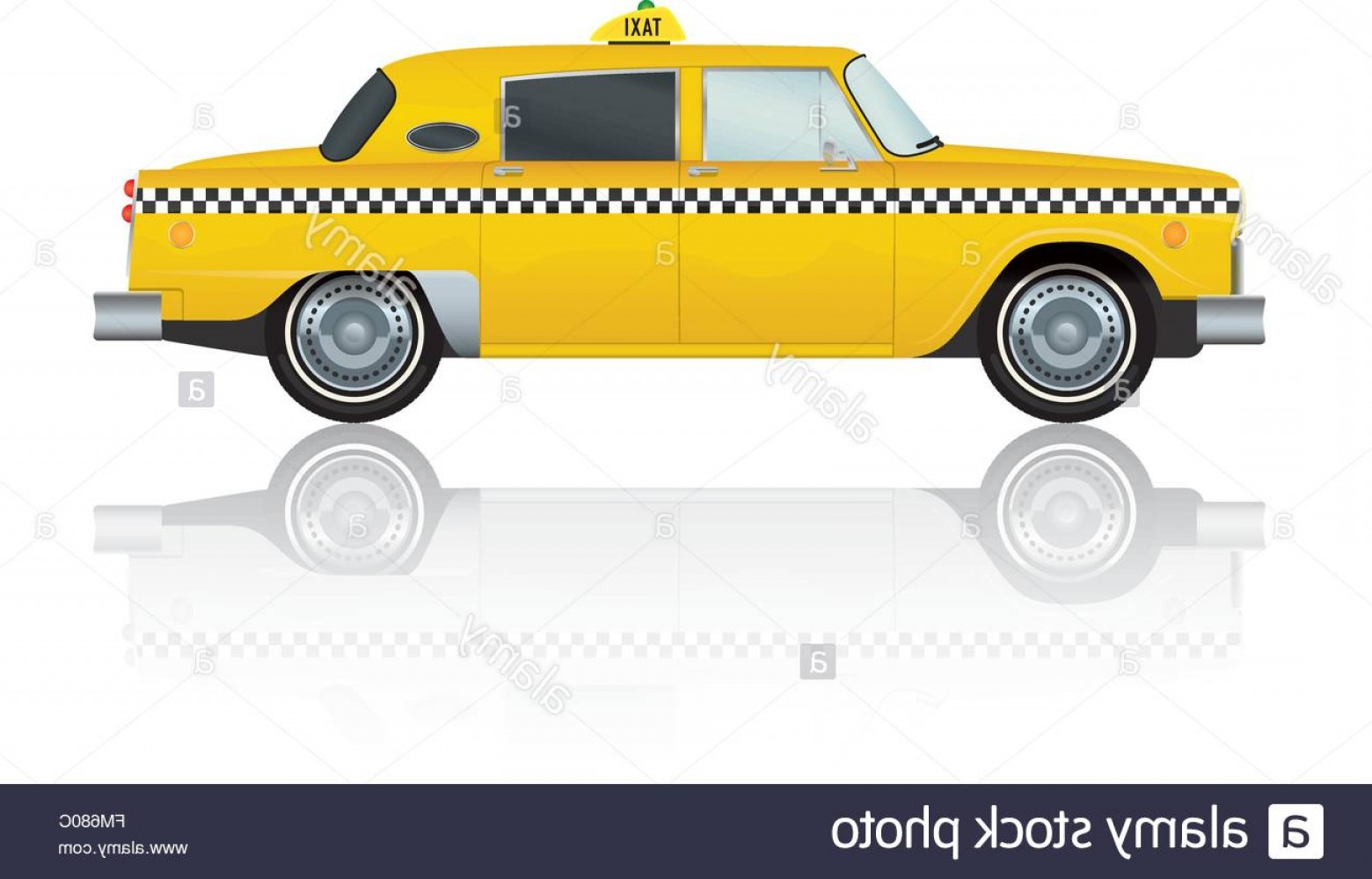 New York Taxi Cab Vector: Stock Photo Vintage New York Yellow Taxi Cab