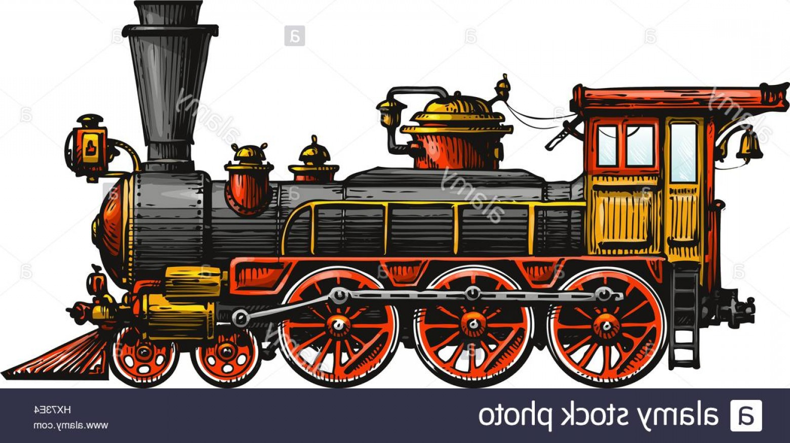Vintage Steam Train Vector: Stock Photo Vintage Steam Locomotive Drawn Ancient Train Transport Vector Illustration