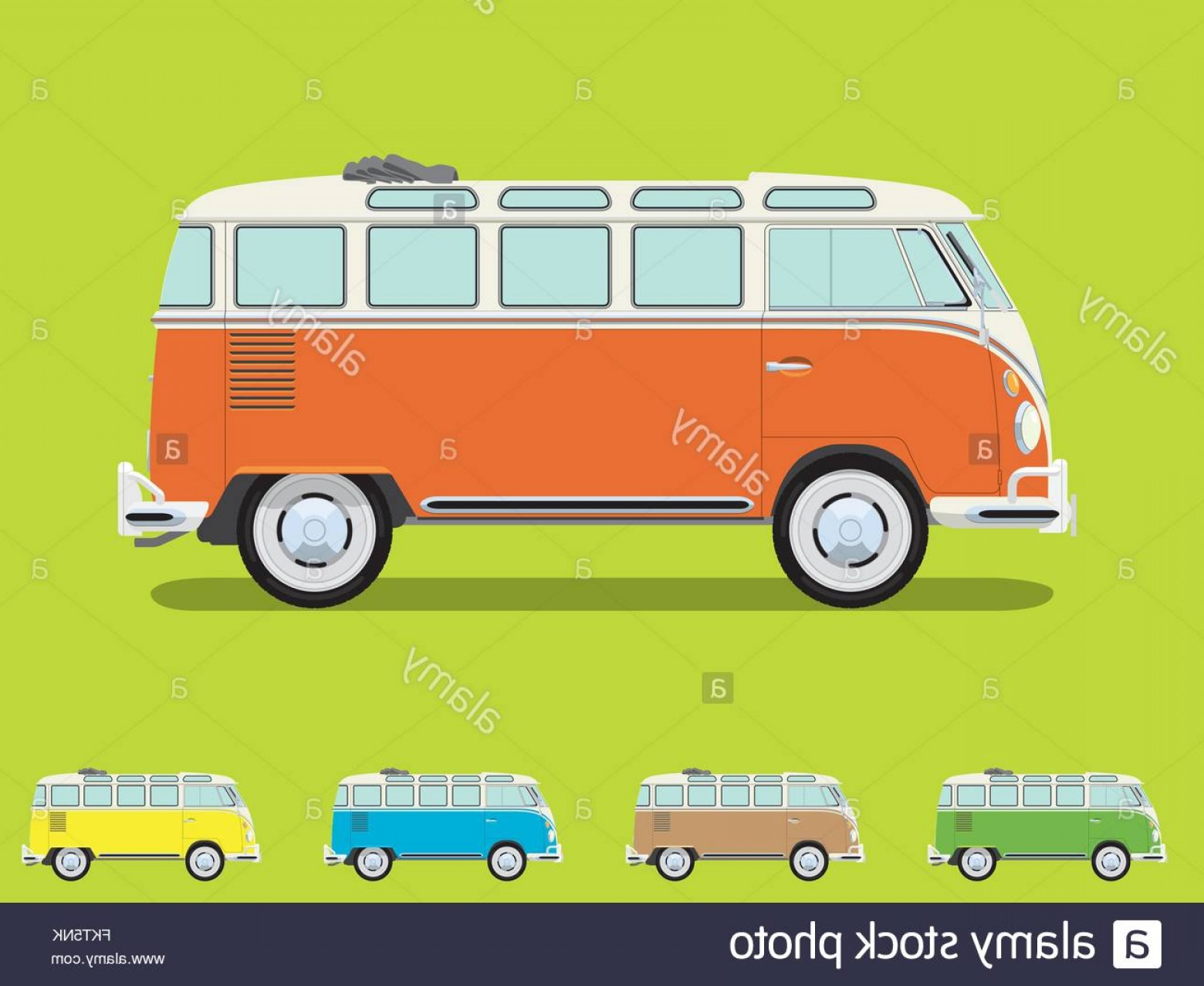 VW Vector Graphic: Stock Photo Vintage Volkswagen Camper Van With Open Roof Detailed Side View Four