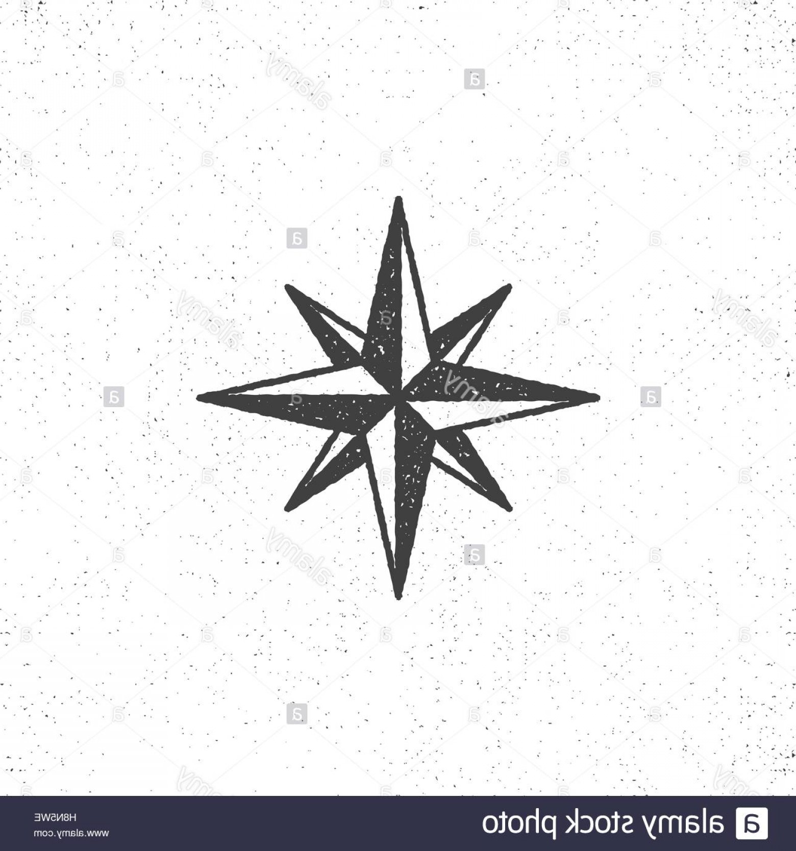 4 Point Nautical Star Vector: Stock Photo Vintage Wind Rose Symbol Or Icon In Rough Silhouette Nautical Style