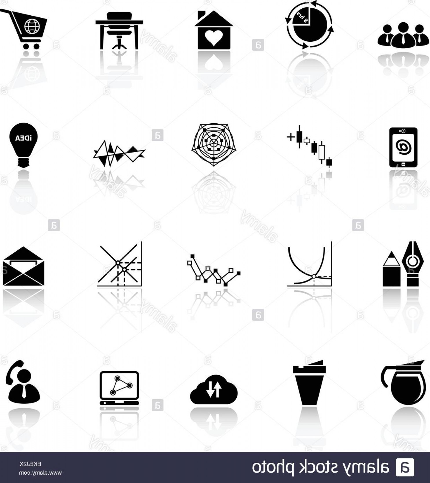 Vector Black And White Organization: Stock Photo Virtual Organization Icons With Reflect On White Background Stock
