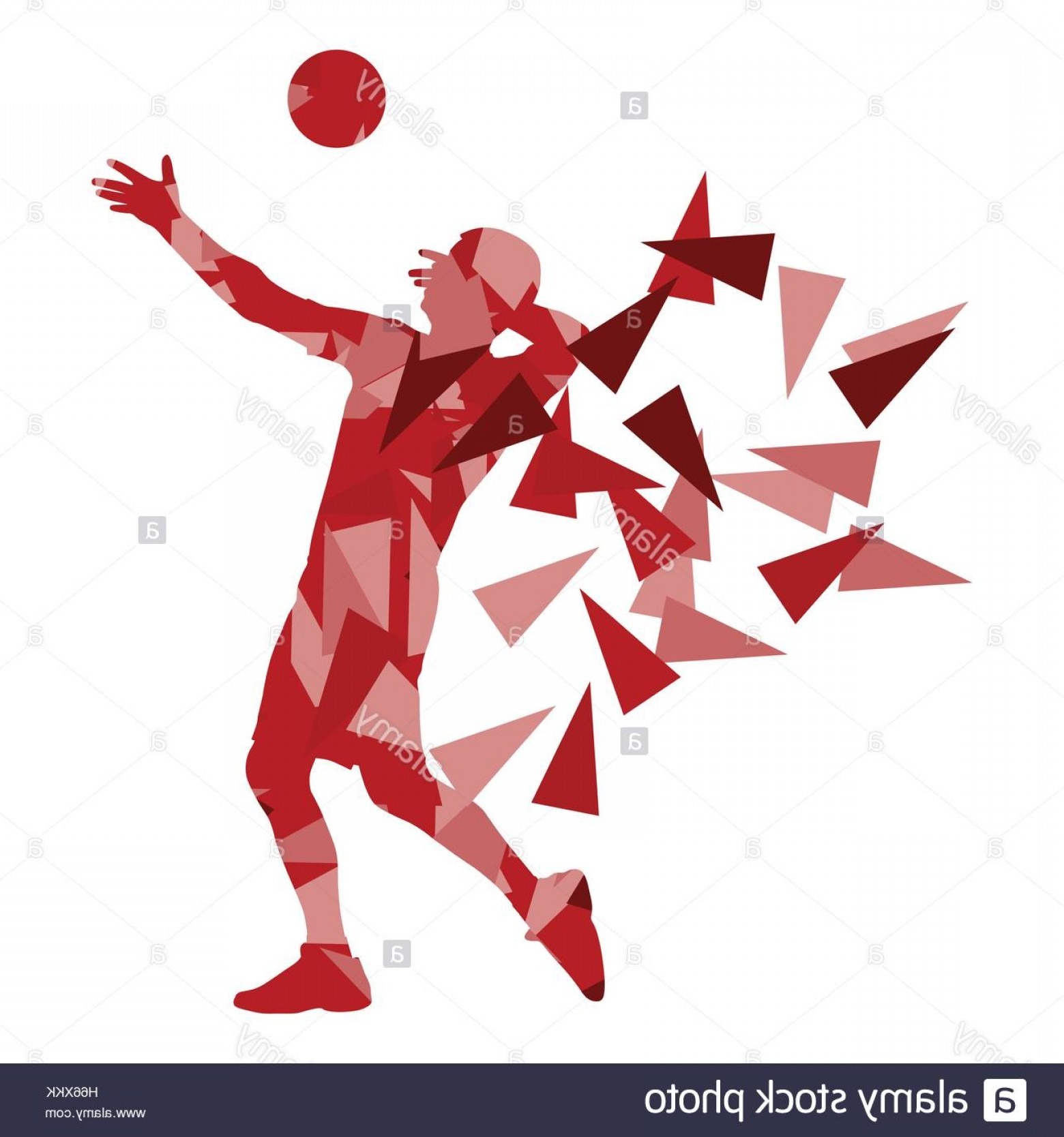 Volleyball Player Vector: Stock Photo Volleyball Player Man Silhouette Made Of Polygon Fragments Vector