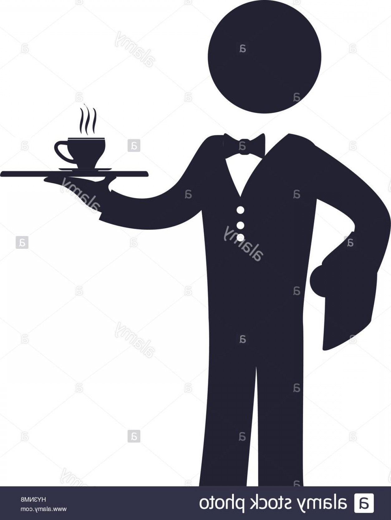 Vector Waiter Coffee: Stock Photo Waiter Catering Coffee Cup Vector Icon Illustration