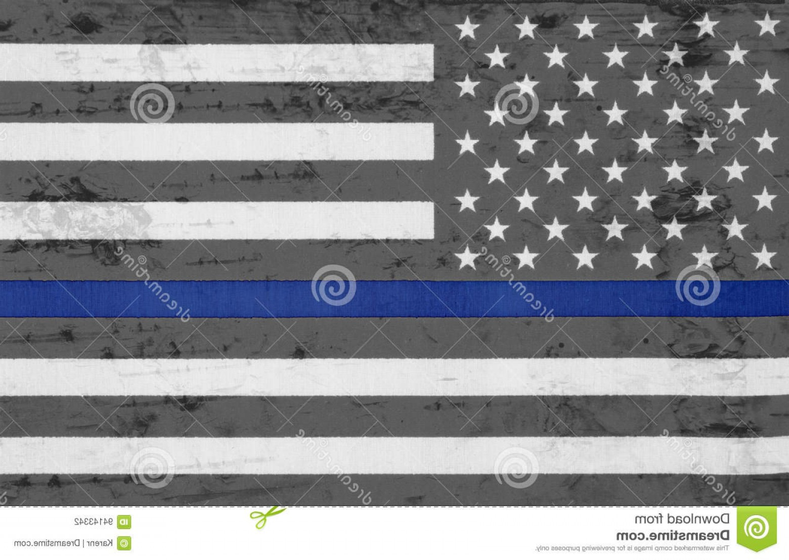 Thin Red Line Distressed Flag Vector: Stock Photo Weathered Usa Thin Blue Line Flag United States America Image