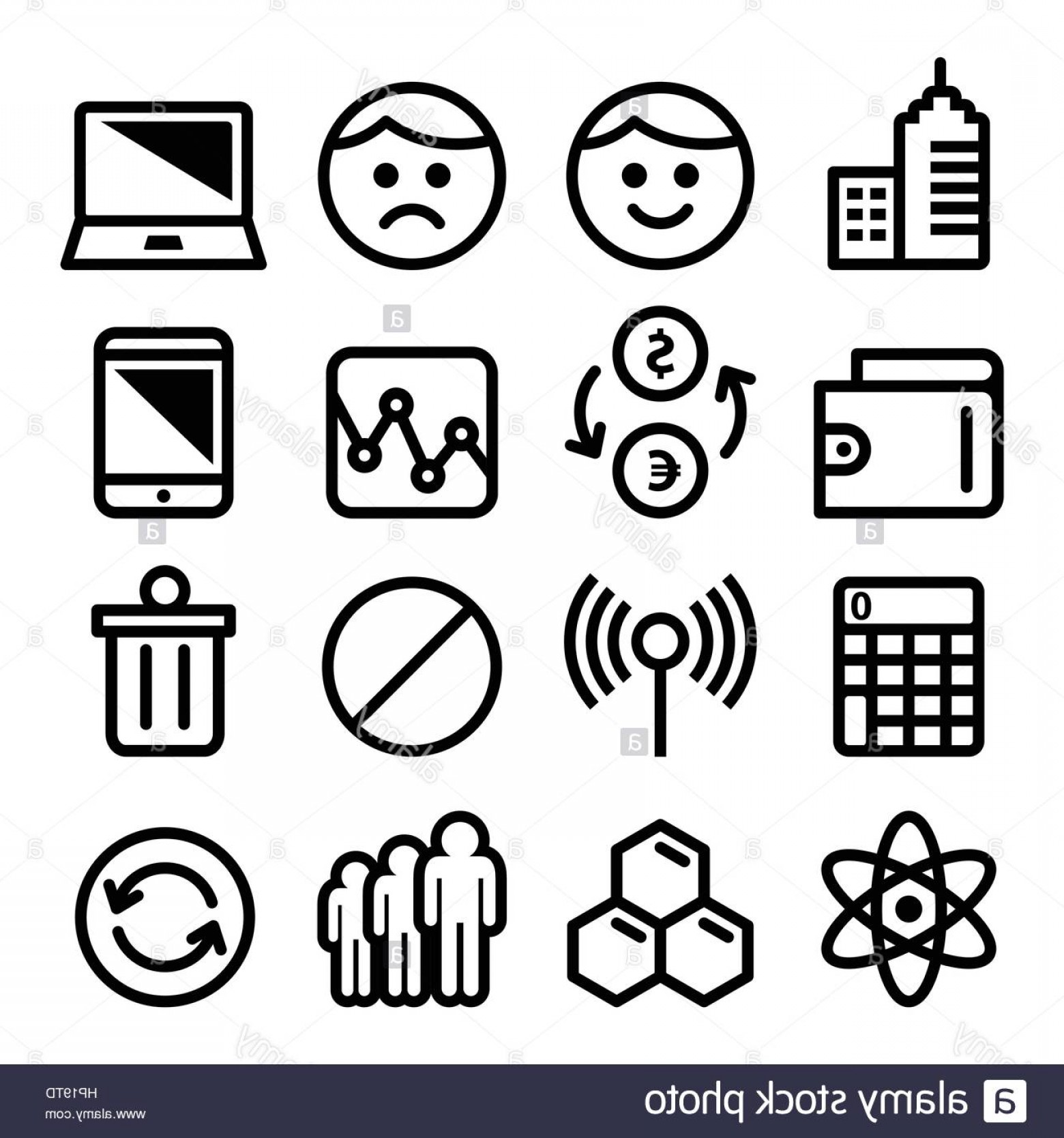 Vector Applications On Computers: Stock Photo Web Menu Internet Line Stroke Icons Set Tech Application Vector Icons