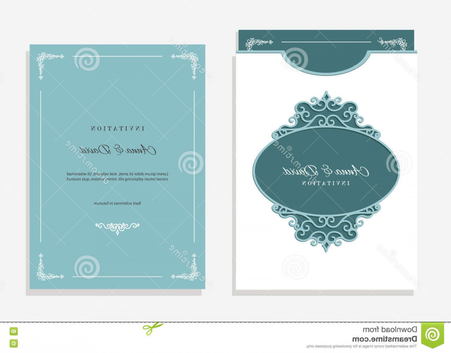 Filigree Oval Frame Vector: Stock Photo Wedding Envelope Template Laser Cutting Invitation Filigree Oval Frame Emerald White Colors Image