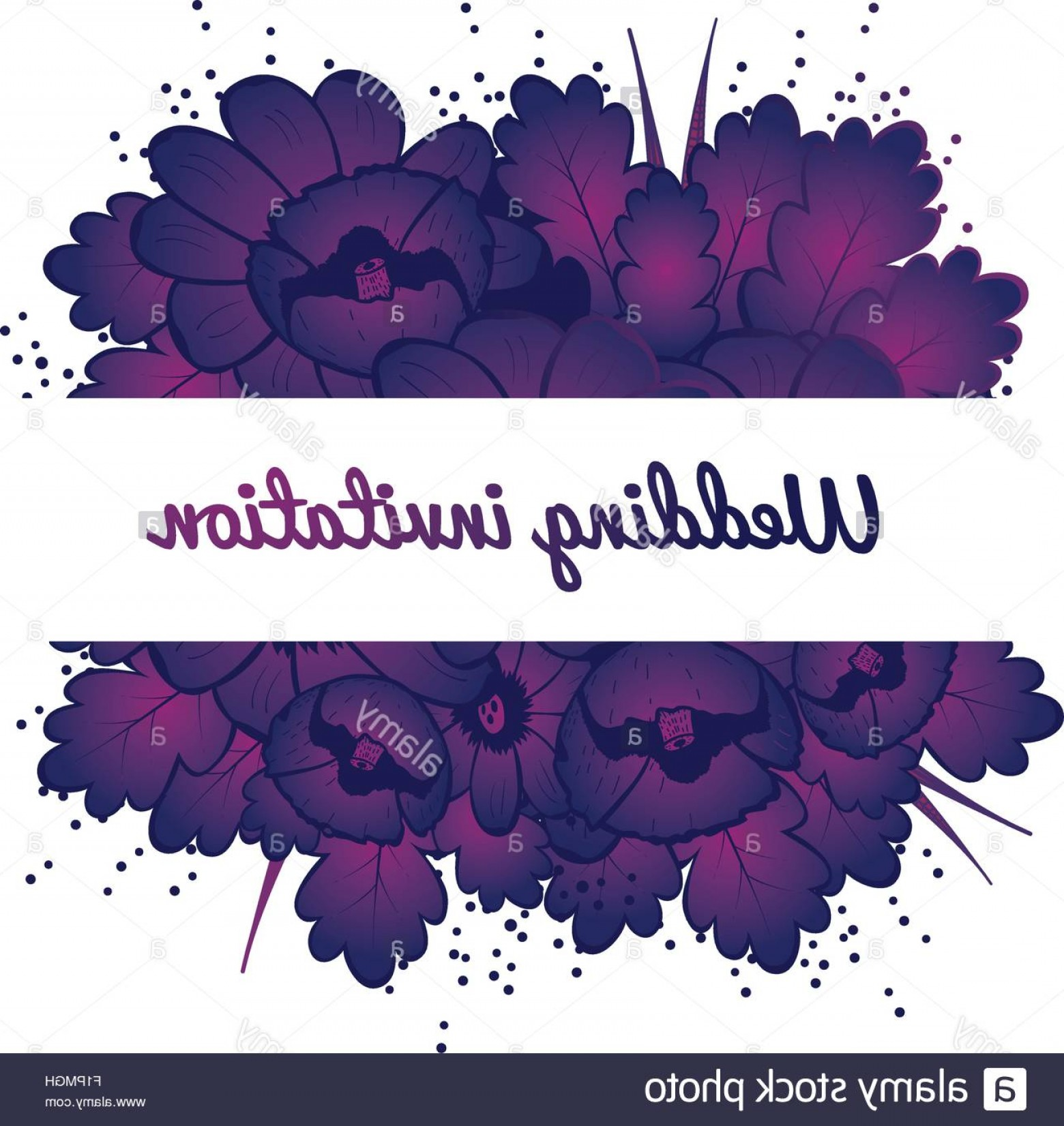 Lilac Wedding Vectors: Stock Photo Wedding Invitation Card With Purple Flowers Vector Illustration