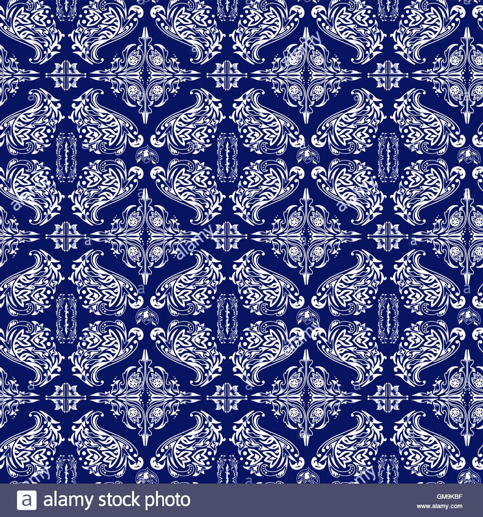 Blue And White Damask Vectors: Stock Photo White And Blue Luxury Damask Pattern