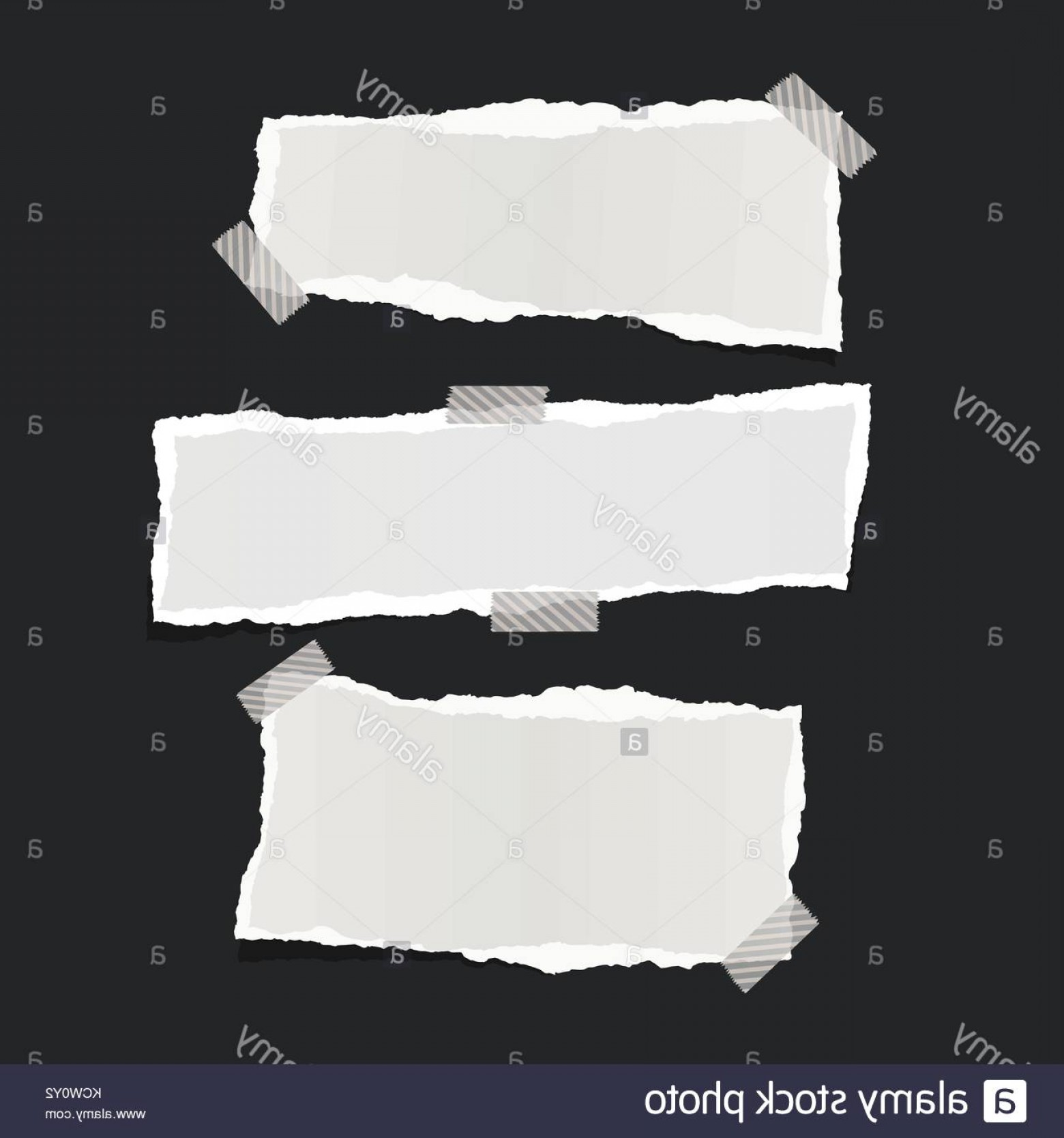 Ripped Black And White Vector: Stock Photo White Ripped Note Notebook Paper Stuck With Sticky Tape On Black Background
