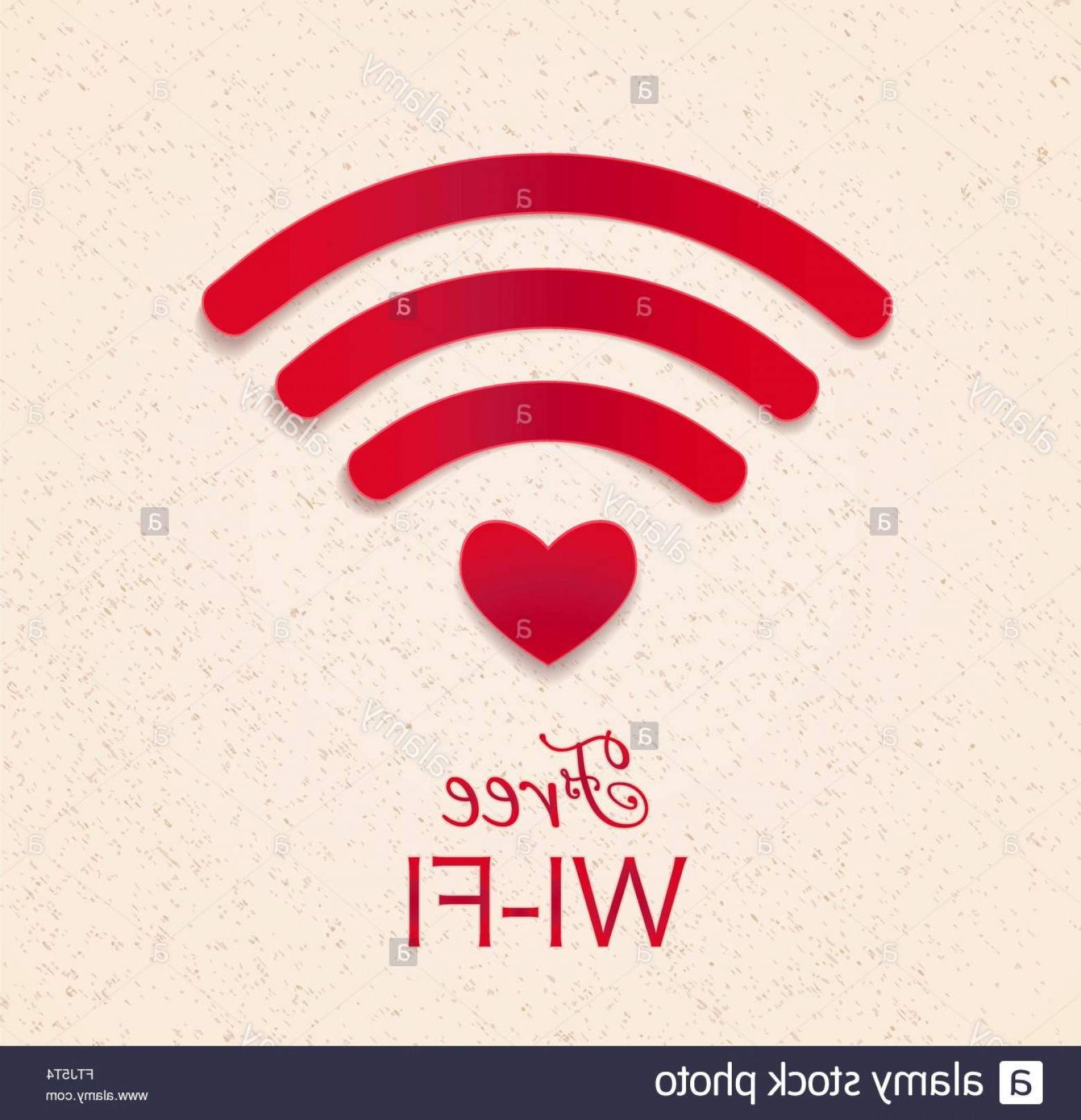 Wifi Symbol Clip Art Vector: Stock Photo Wi Fi Red Icon With Heart Shape As Point Access Free Wifi Connection