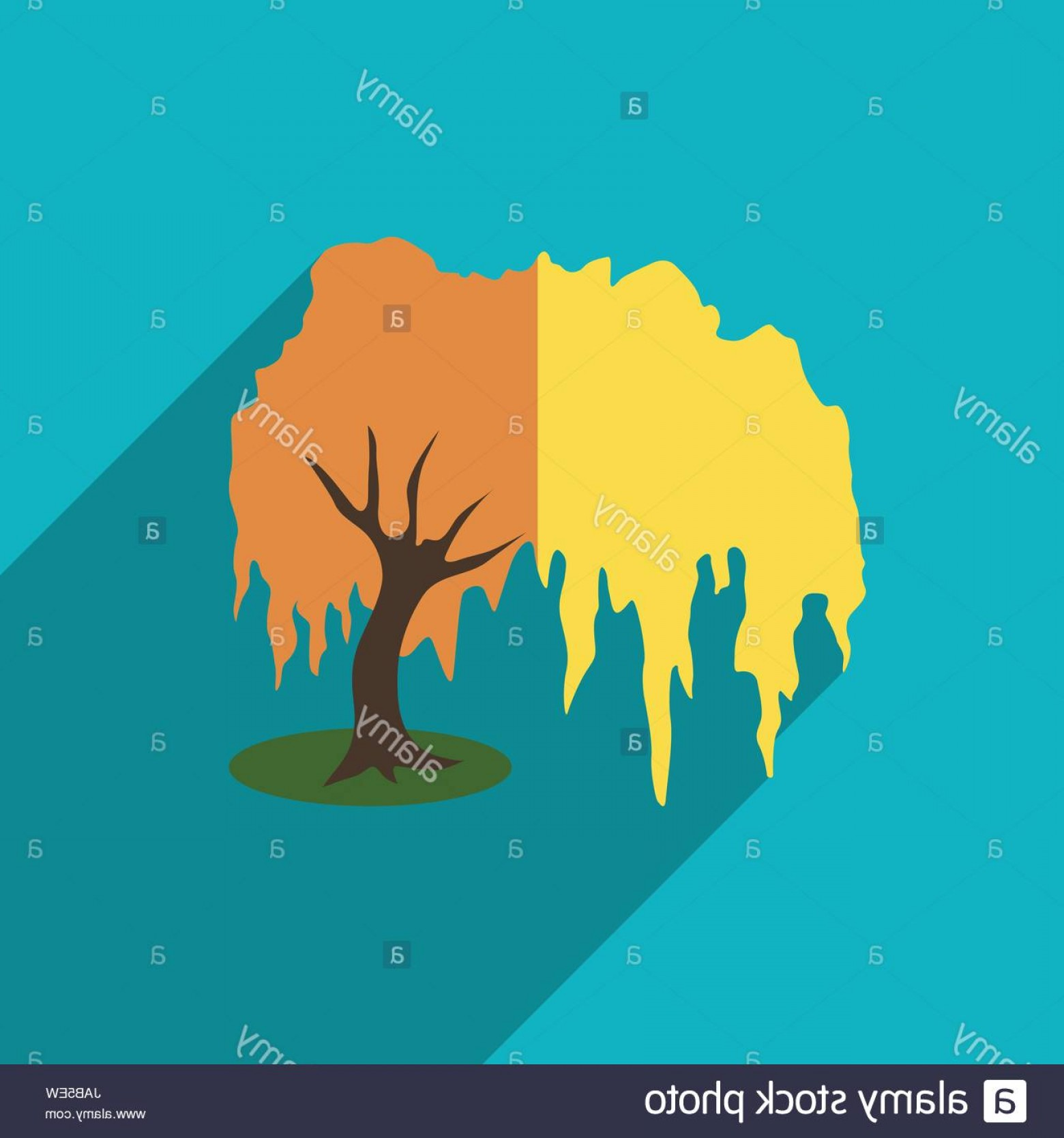 Vector Natural Willow: Stock Photo Willow Tree Icon Flat Illustration Of Willow Tree Vector Icon For