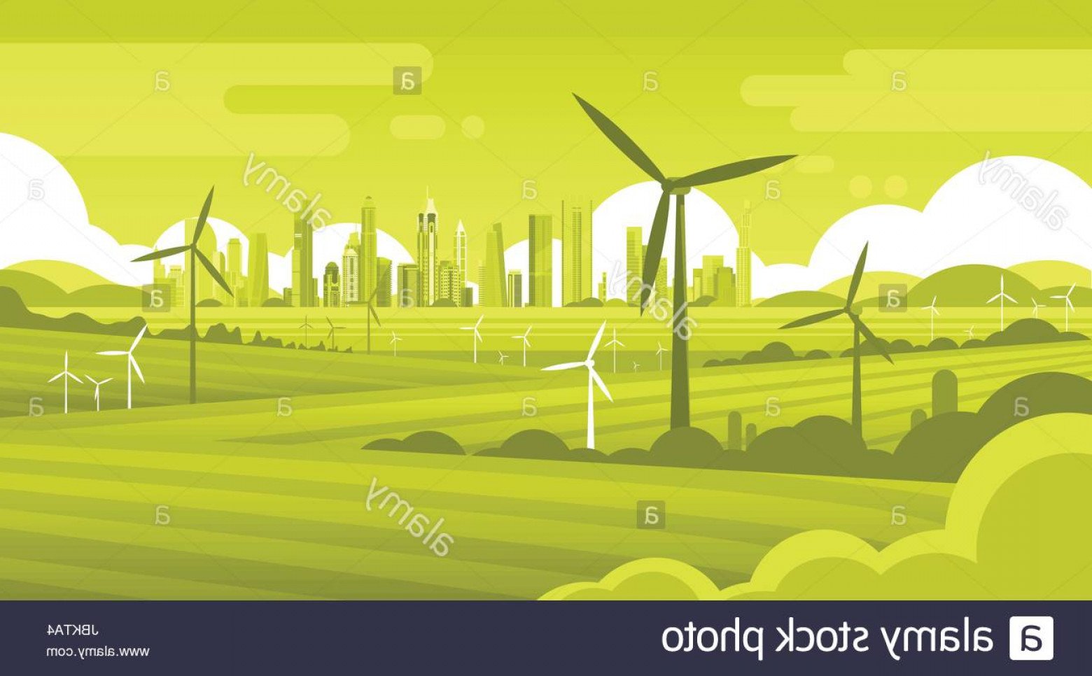 Wind Vector Field: Stock Photo Wind Turbine Tower In Field Green City Background Ecology Alternative
