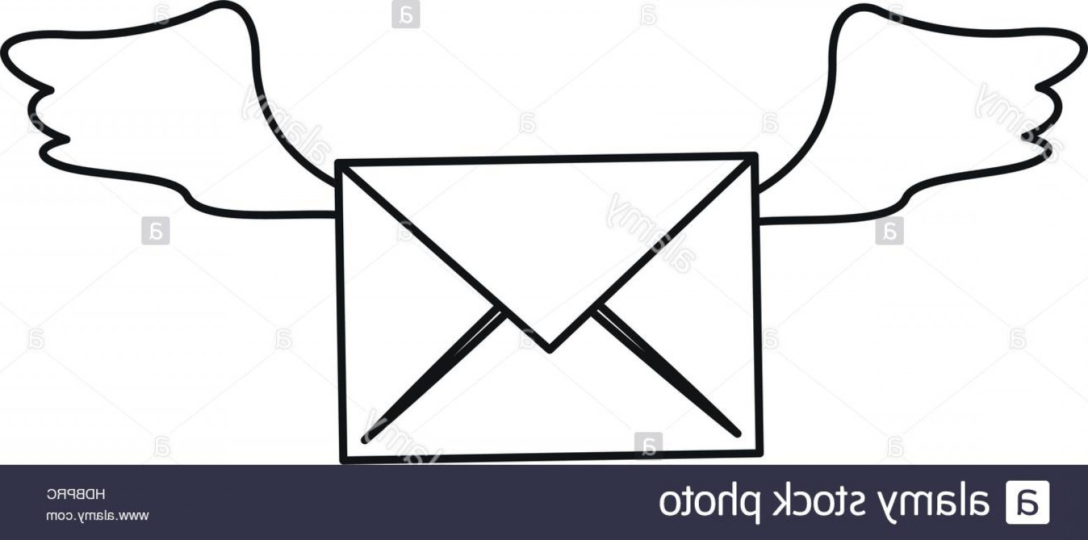 Vector Envelope Express: Stock Photo Winged Email Envelope Mail Express Outline