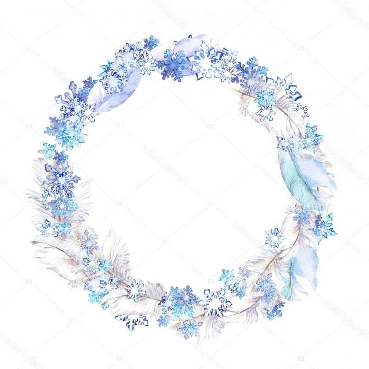 Vector Snowflake Wreath: Stock Photo Winter Wreath With Snow Flakes