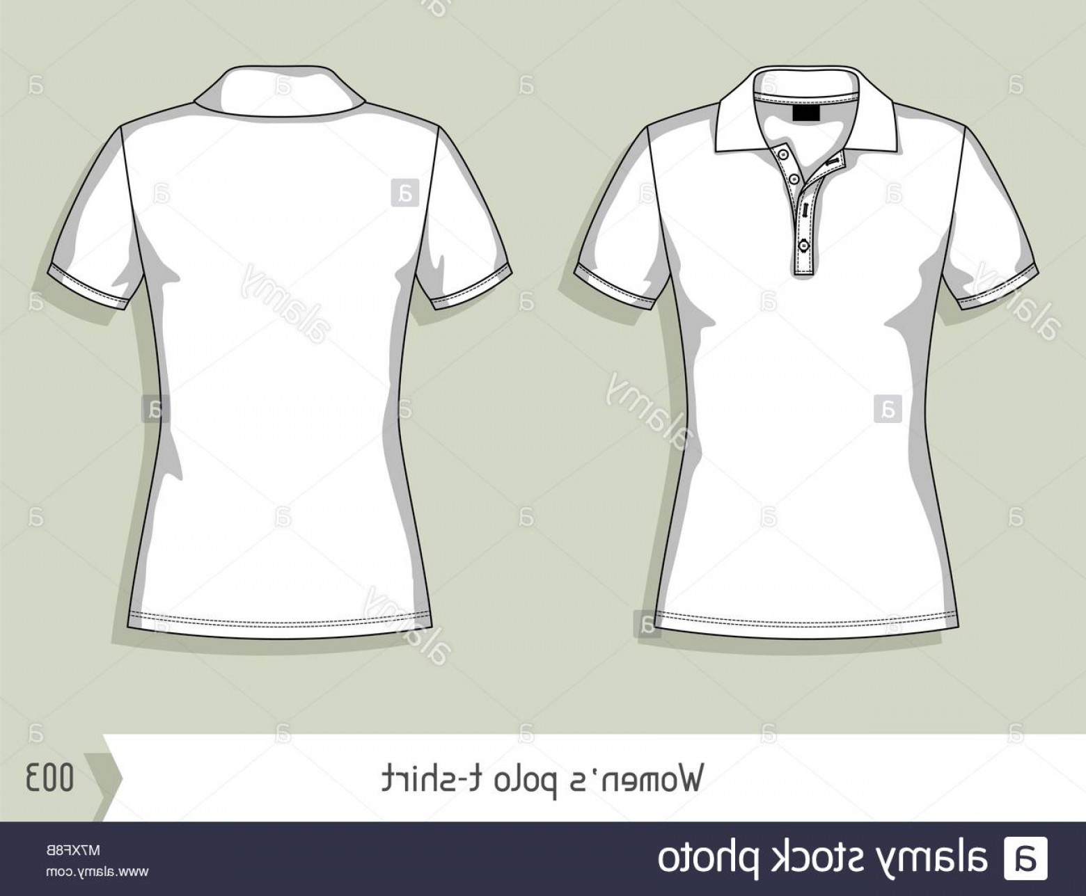 Female Polo Shirt Vector Template: Stock Photo Women Polo T Shirt Template For Design Easily Editable By Layers