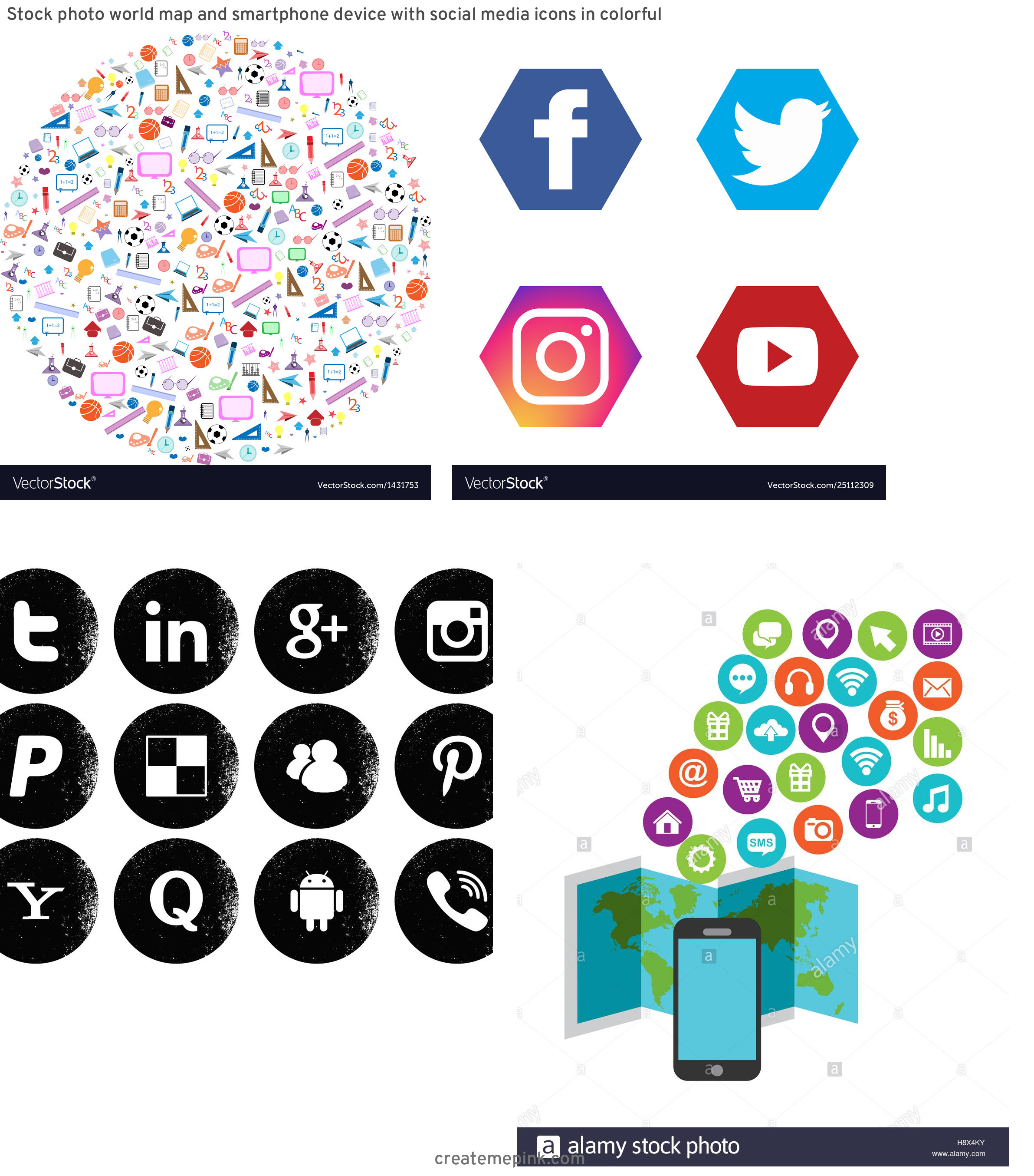 Pencil Icon Vectors Social Media: Stock Photo World Map And Smartphone Device With Social Media Icons In Colorful