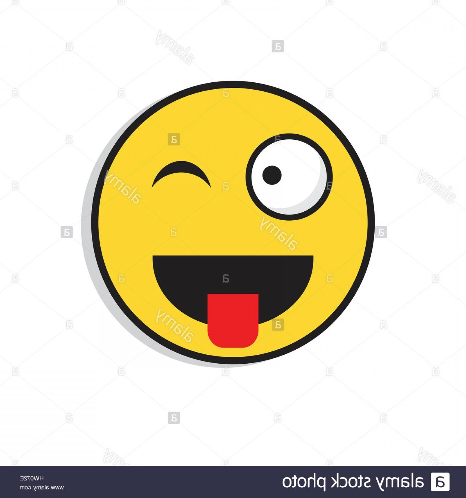 Smiley-Face Winking Vector: Stock Photo Yellow Smiling Face Wink Positive People Emotion Icon