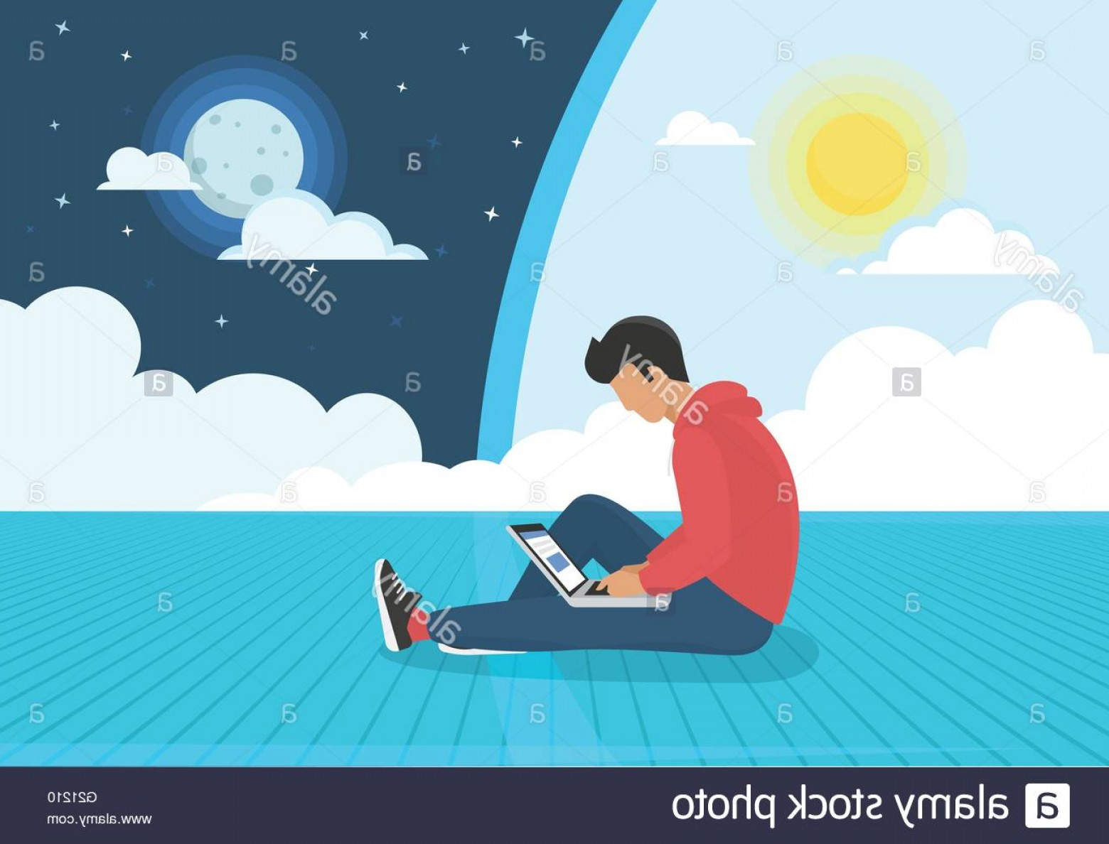Vector Man Sitting On Floor: Stock Photo Young Man Sitting On The Floor Working With Laptop Day And Night