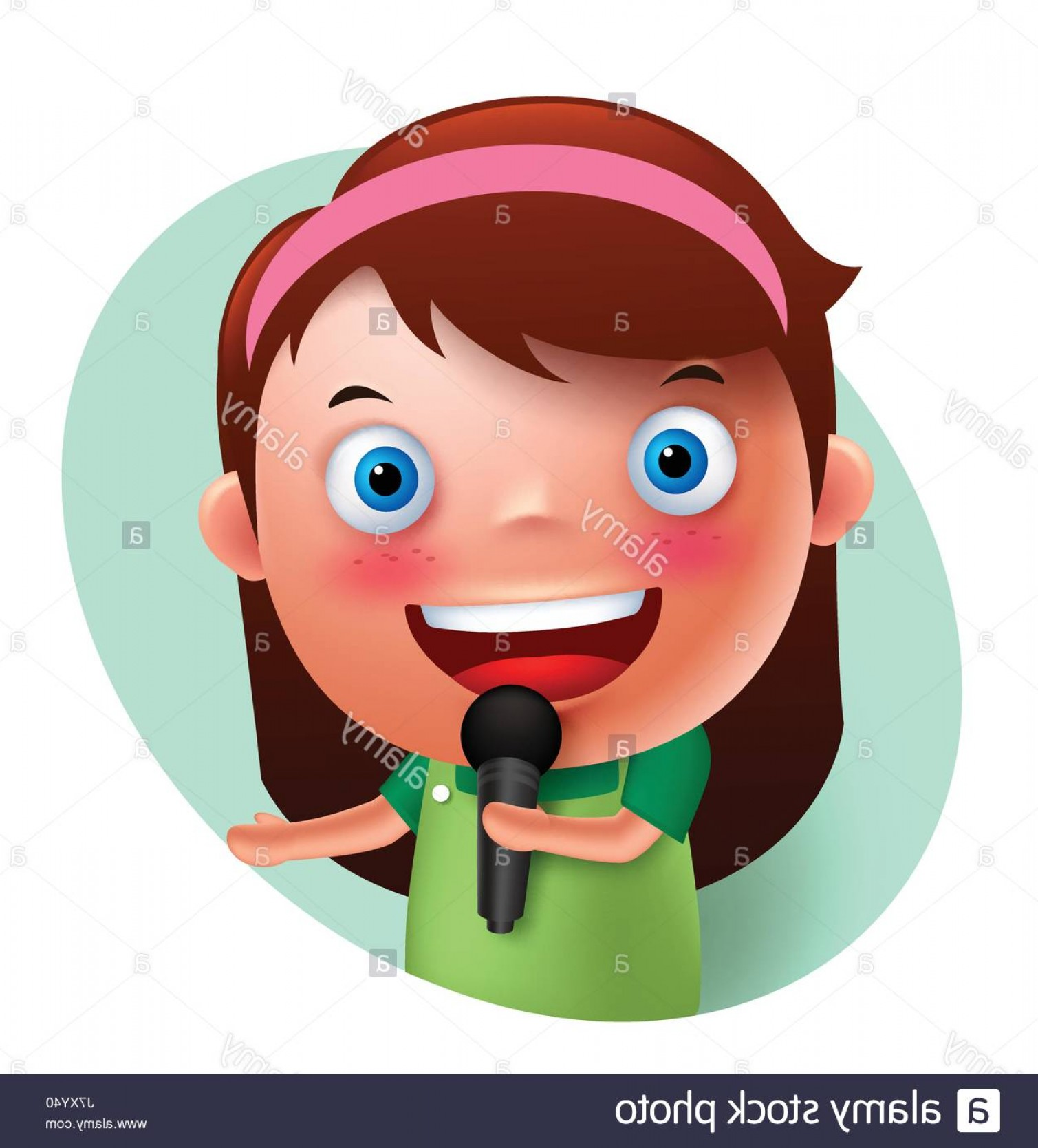 Singing Girls Vector Art: Stock Photo Young Singer Girl Vector Character Singing And Holding Microphone