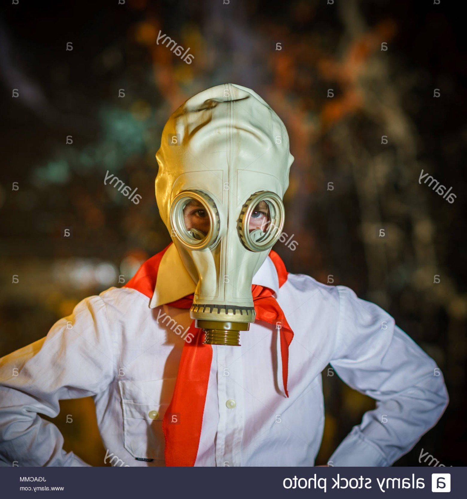 Gas Mask Suit And Tie Vector: Stock Photo Young Soviet Pioneer Dressed In Red Tie And Gas Mask Studio