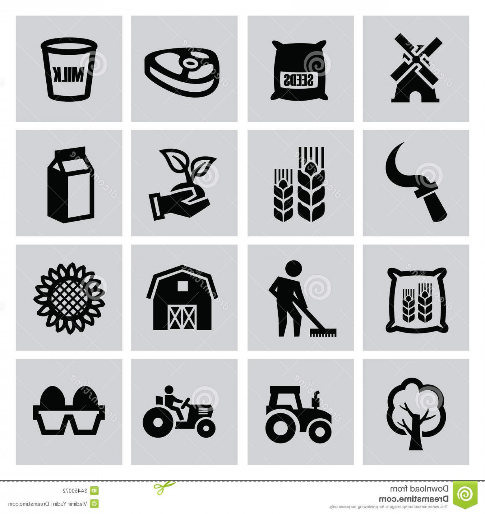 Agriculture Vector Icons: Stock Photography Agriculture Farming Vector Black Icons Set Image