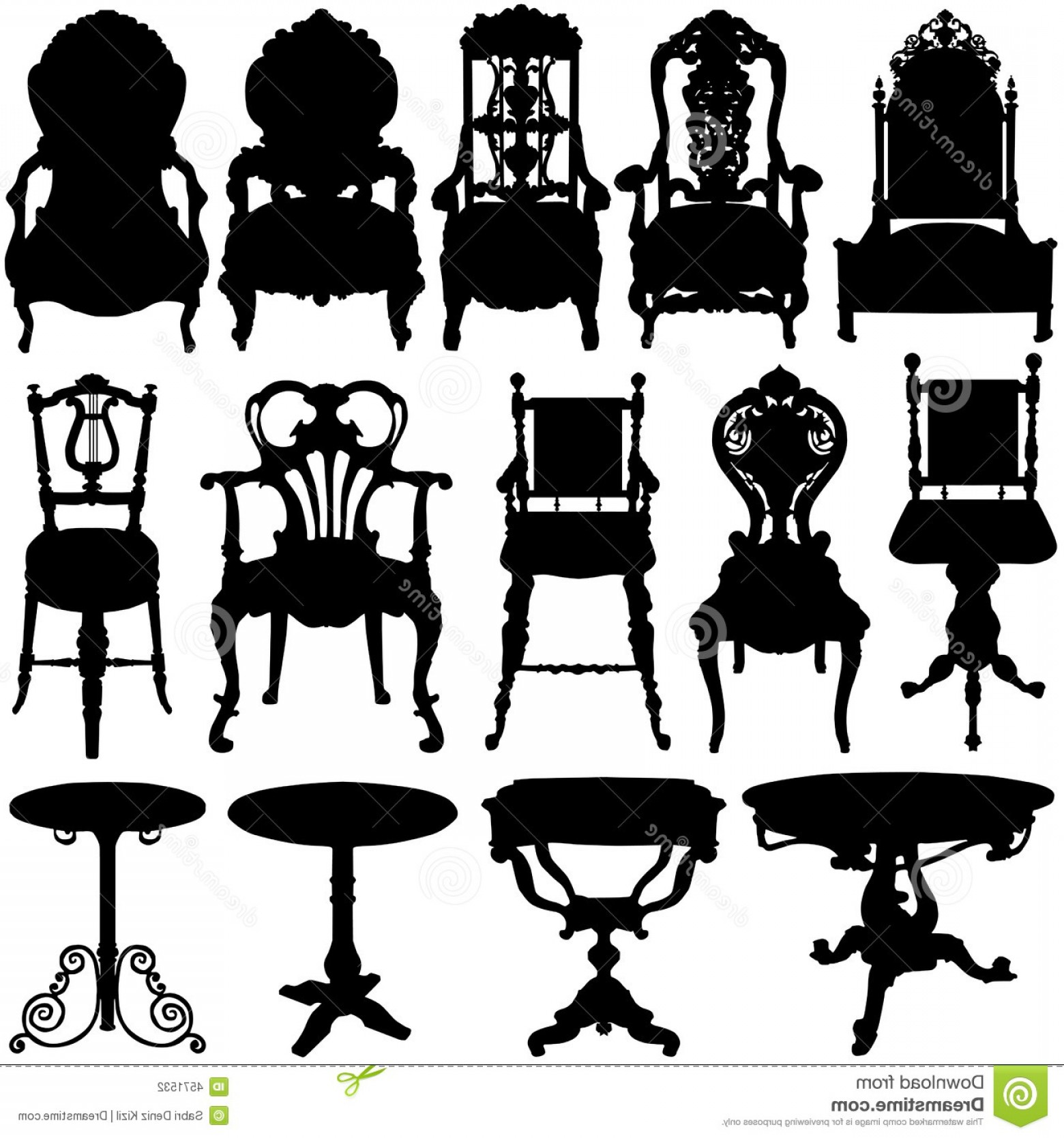 Vector Vintage Chair: Stock Photography Antique Chair Table Vector Image