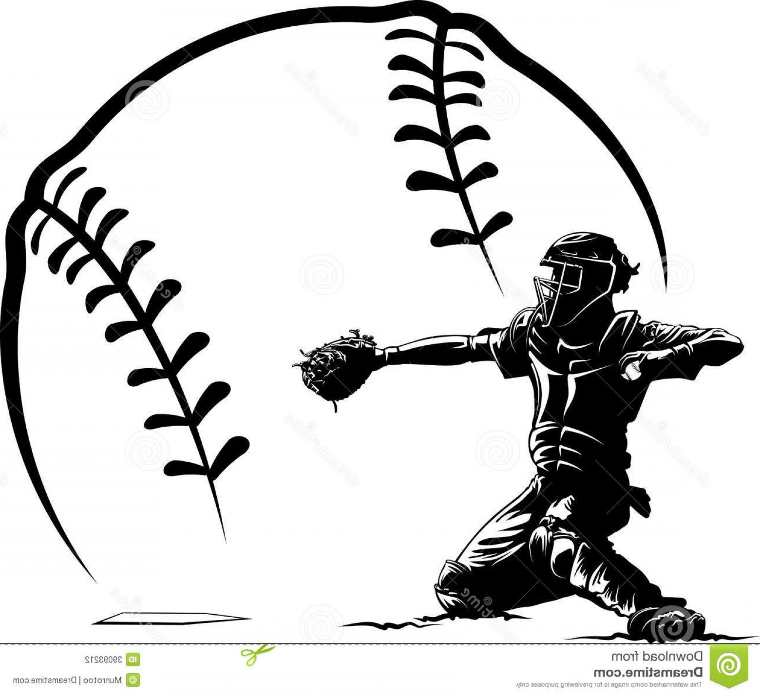 Softball Laces Vector Art B W: Stock Photography Baseball Catcher Home Plate Stylized Ball Black White Illustration Getting Ready To Throw Out Runner Front Image