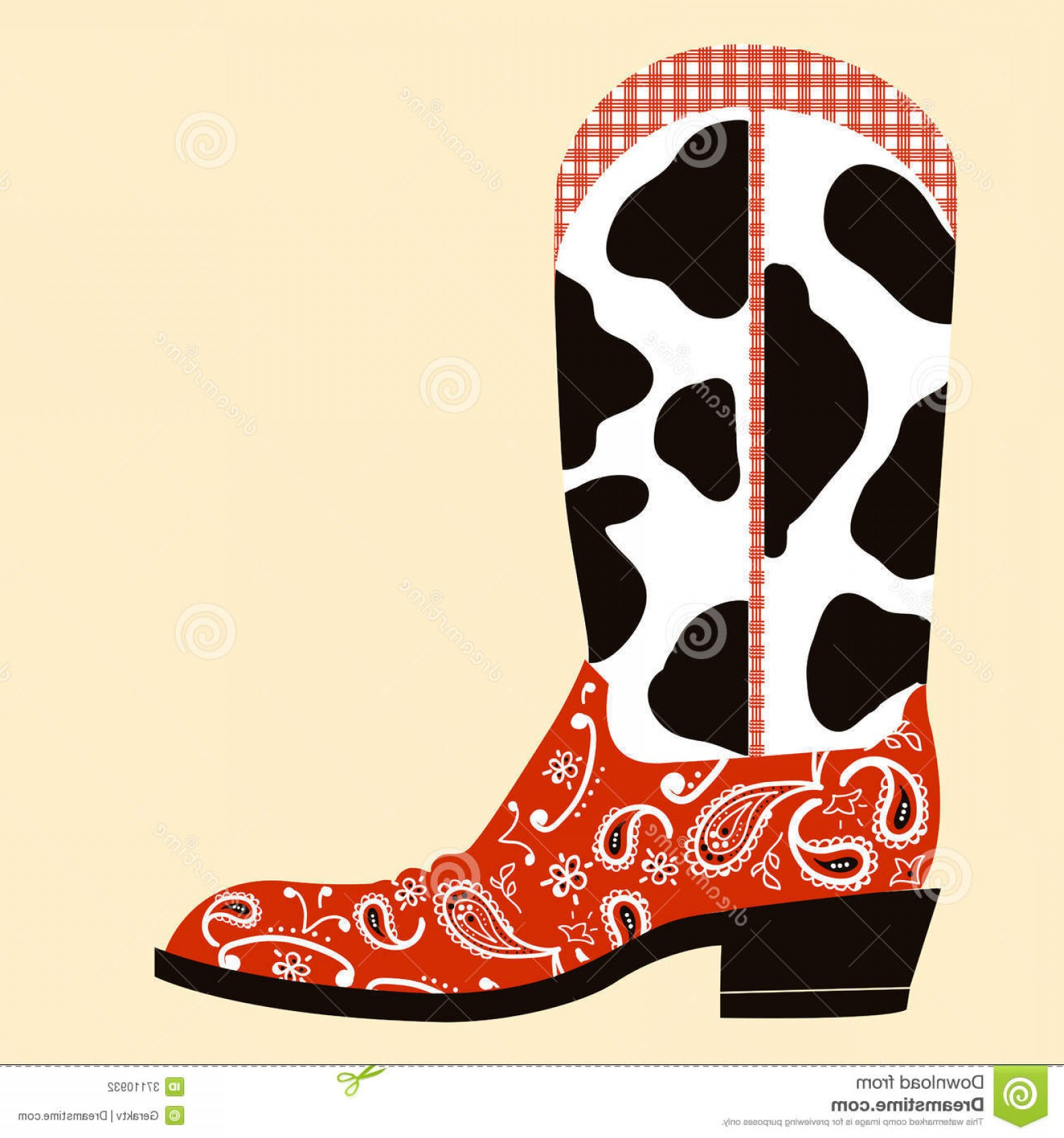 Two Cowgirl Boots Vector: Stock Photography Cowboy Boot Decoration Western Symbol Shoe Image
