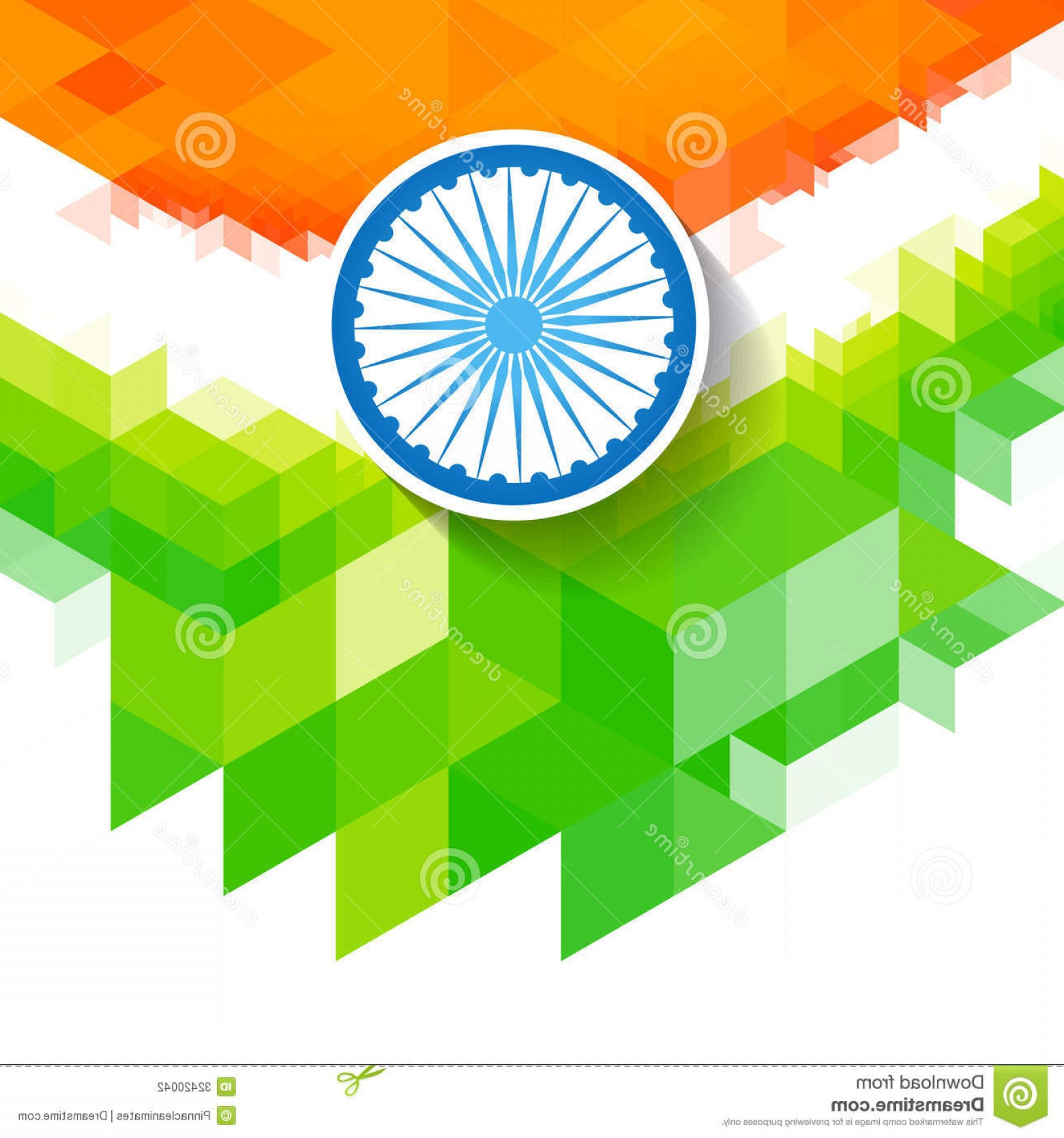India Flag Vector: Stock Photography Creative Wave Indian Flag Vector Style Background Image