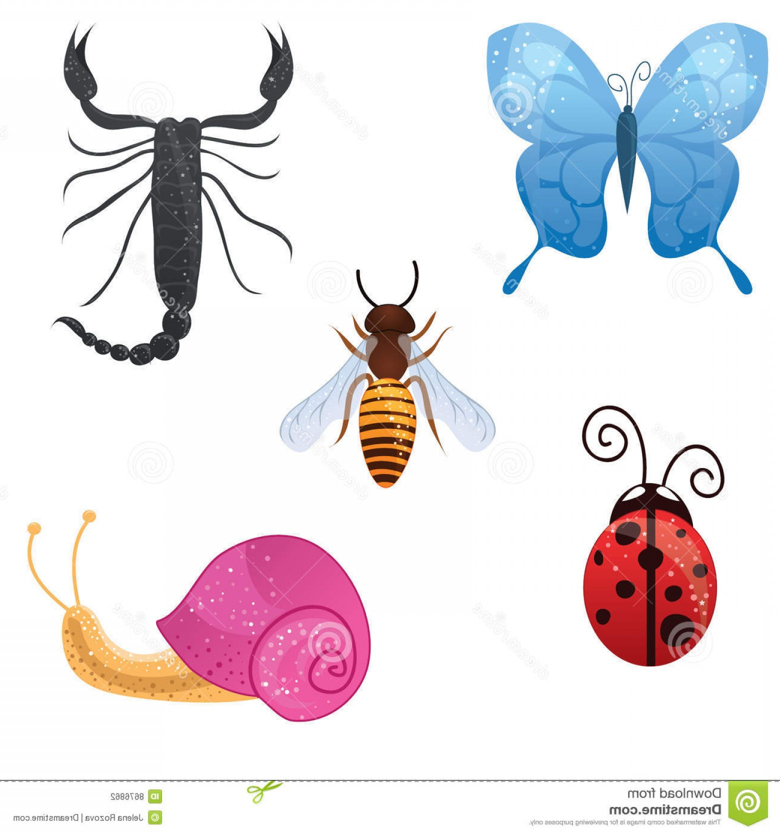 Vector Insect Light: Stock Photography Cute Insect Icons Image