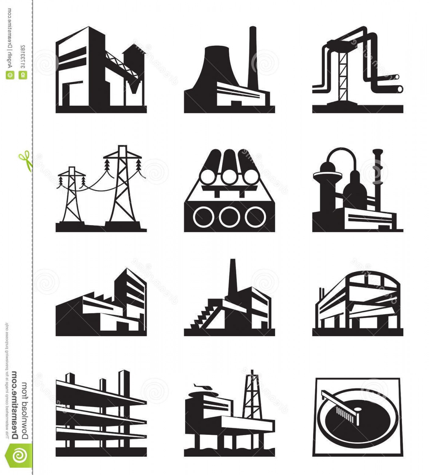 Industrial Vector Art: Stock Photography Different Industrial Construction Types Vector Illustration Image
