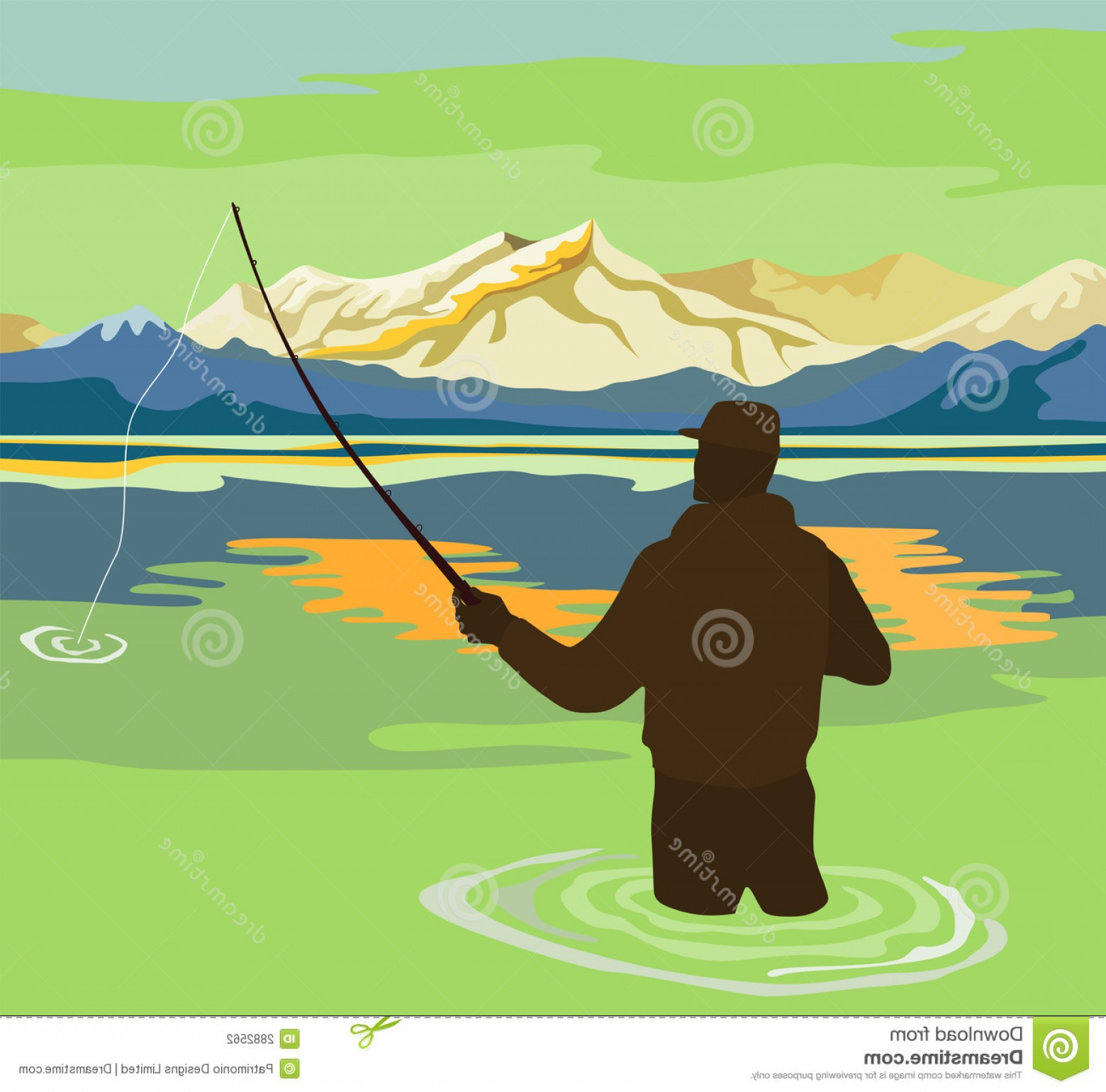 Detailed Vector Art Fly Fisherman: Stock Photography Fly Fishing Summer Image