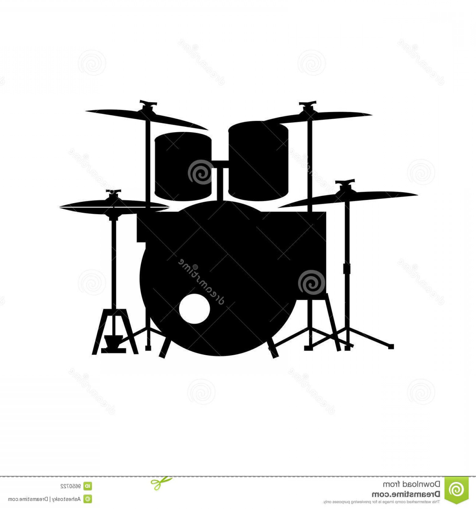 Drum Vector Art: Stock Photography Full Equipped Drum Kit Vector Image