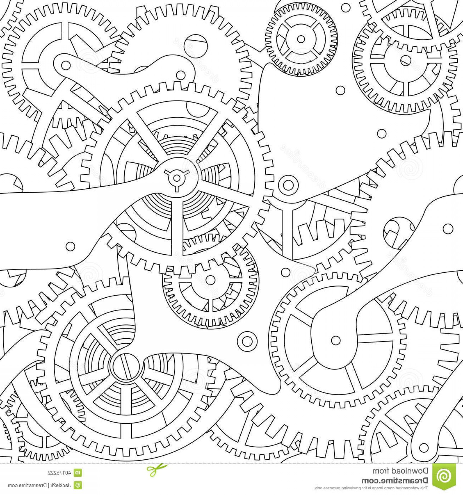 Watch Gears Vector: Stock Photography Gear Seamless Texture Cogwheel Black White Image