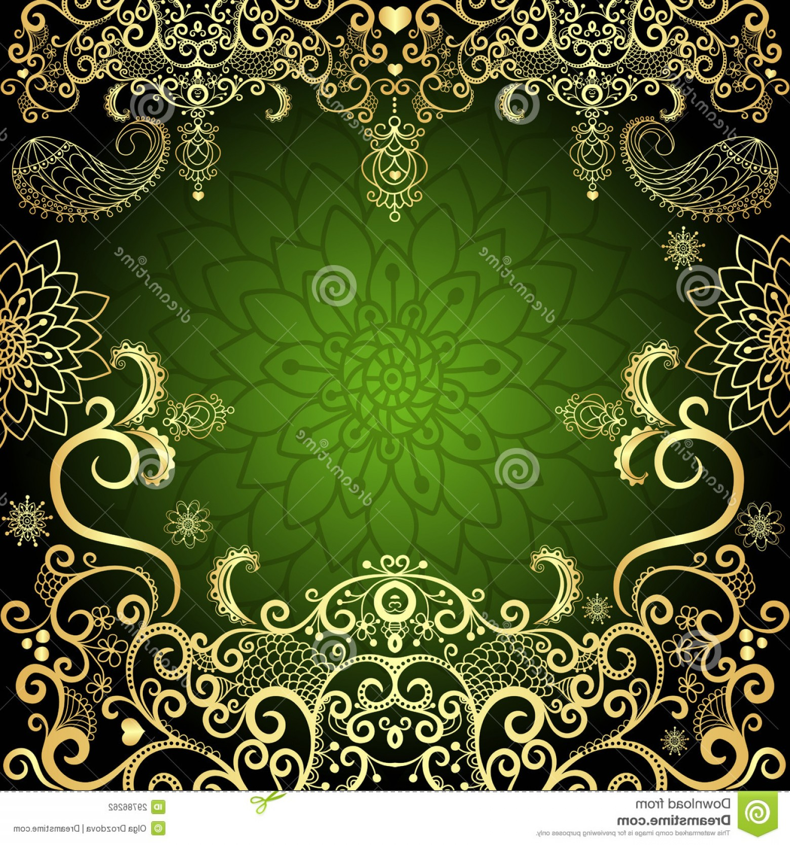 Filigree Oval Frame Vector: Stock Photography Green Gold Luxurious Filigree Vintage Floral Easter Frame Vector Image