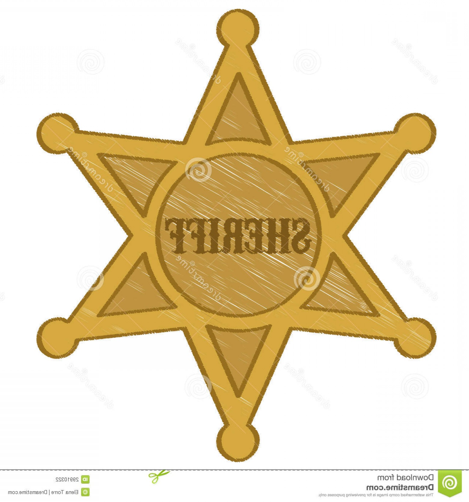 Star Badge Vector: Stock Photography Illustration Gold Sheriff Star White Background Image