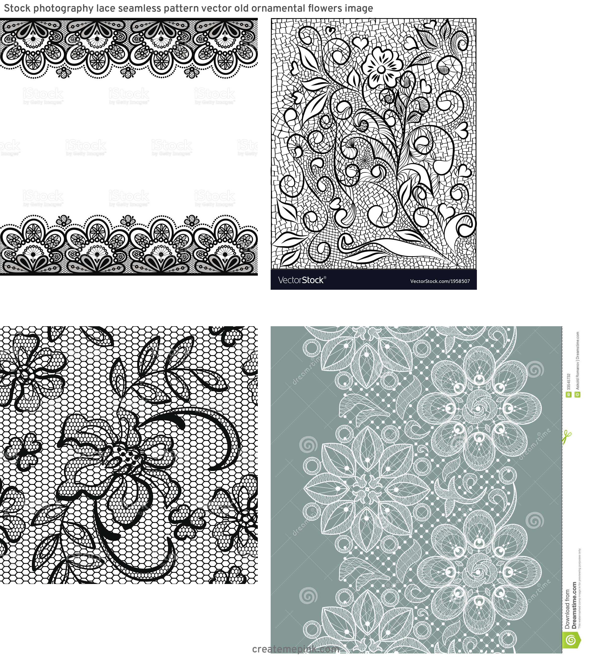 Vector Old Lace Black: Stock Photography Lace Seamless Pattern Vector Old Ornamental Flowers Image