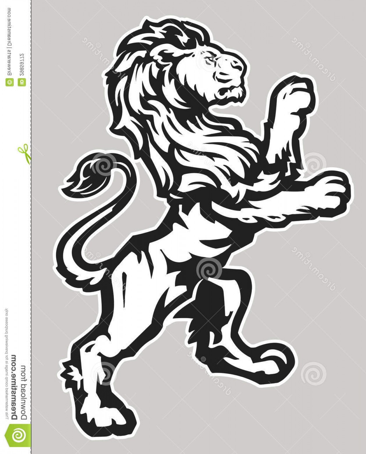 Standing Lions Crest Vector: Stock Photography Proud Lion Rampant Symbol Classic Imagery Grouped Heraldic Mascot Imagery Crest Designs Image