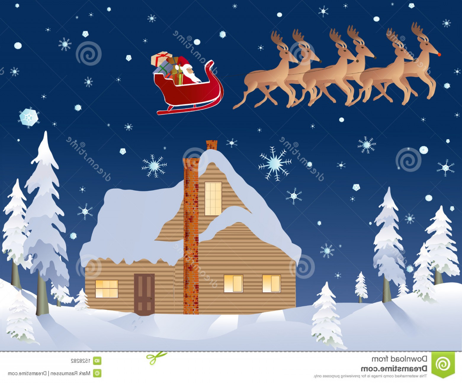 Vector-Based Christmas: Stock Photography Santa Reindeer Cabin Woods Christmas Eve Image