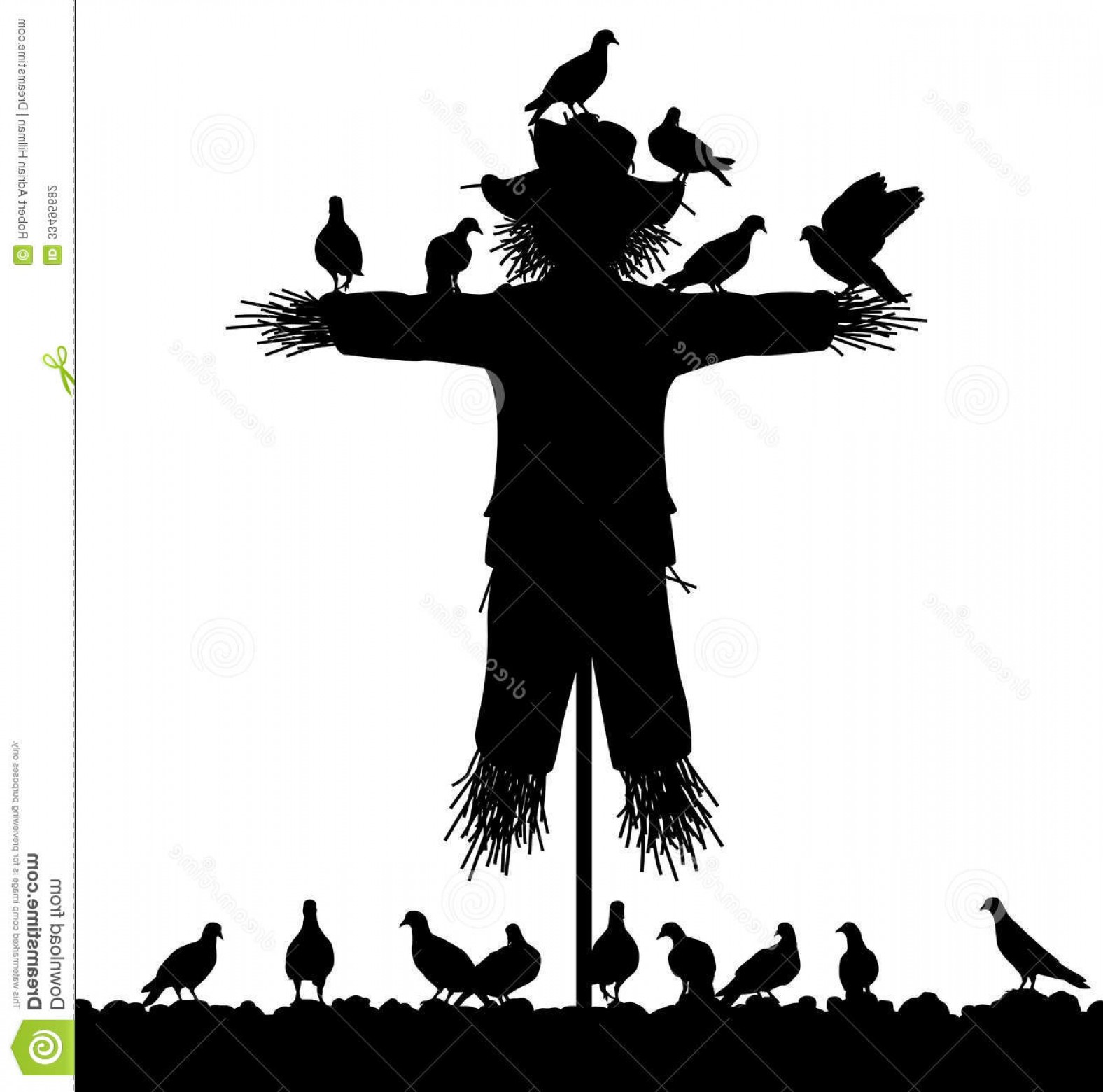 Scarecrow Vector Art: Stock Photography Scarecrow Editable Vector Silhouette Flock Pigeons All Figures As Separate Objects Image