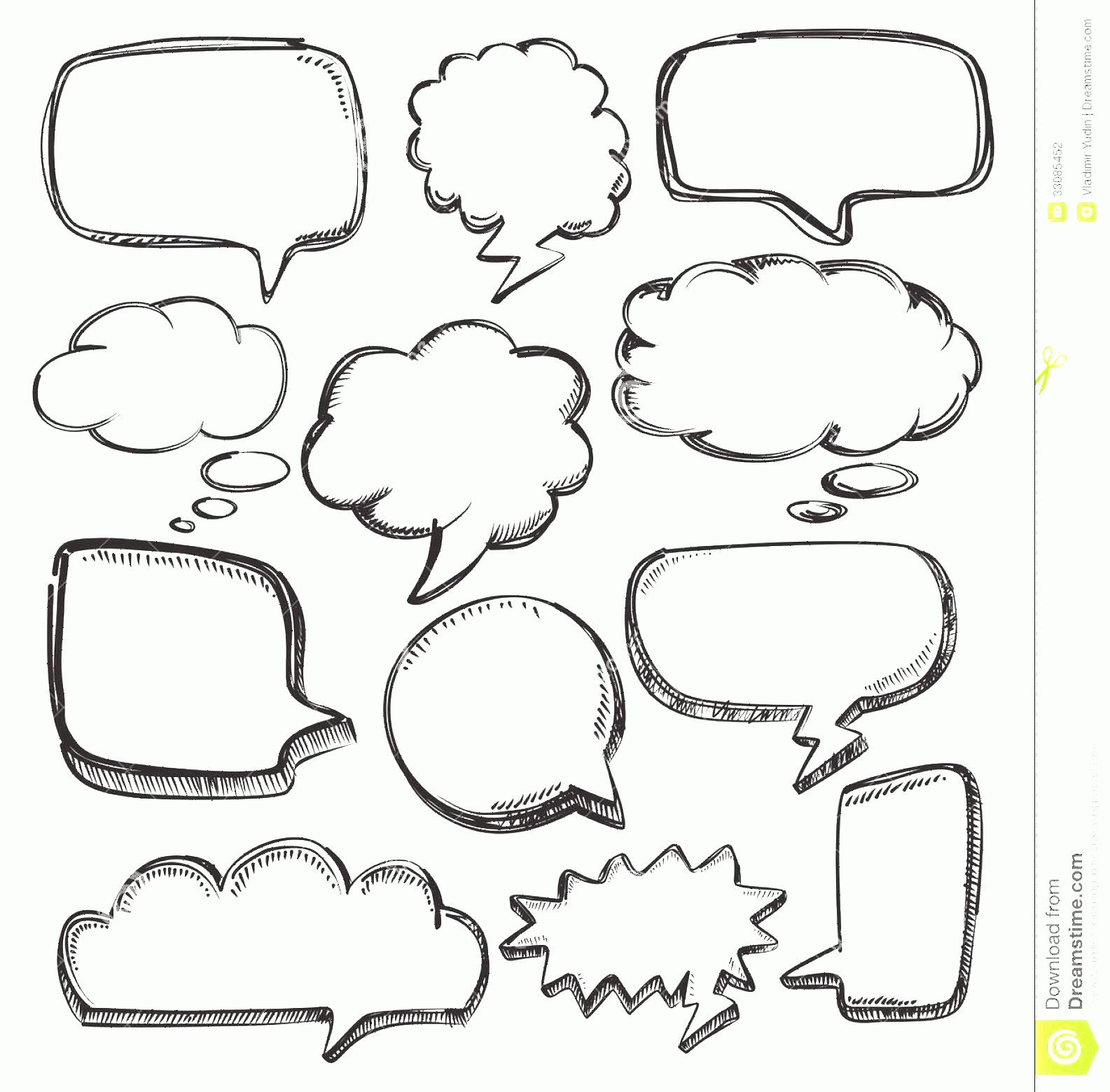 Thought Bubble Vector Sketch: Stock Photography Speech Bubbles Vector Hand Drawn White Image