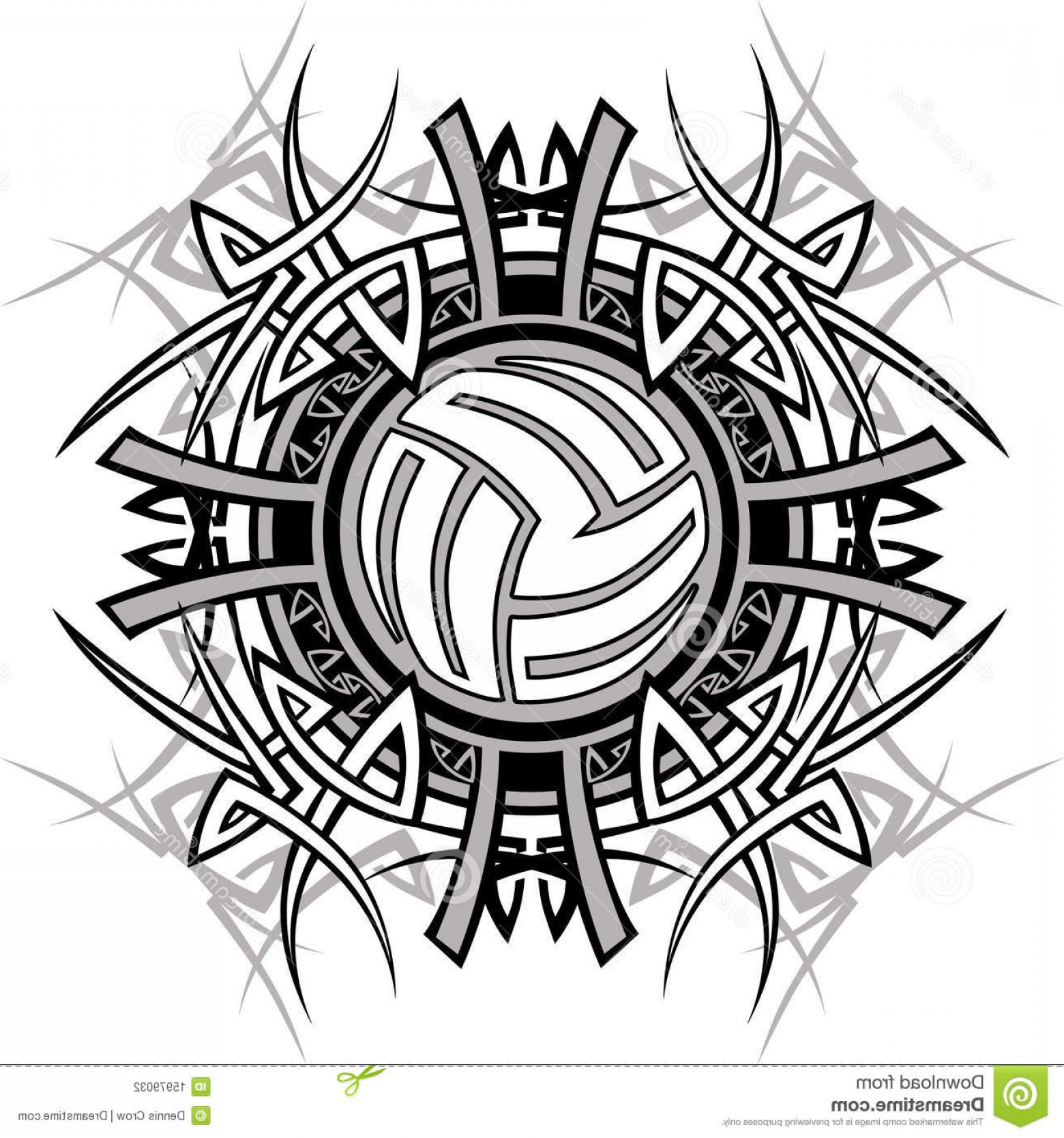 Volleyball Vector Logo: Stock Photography Tribal Volleyball Vector Logo Image