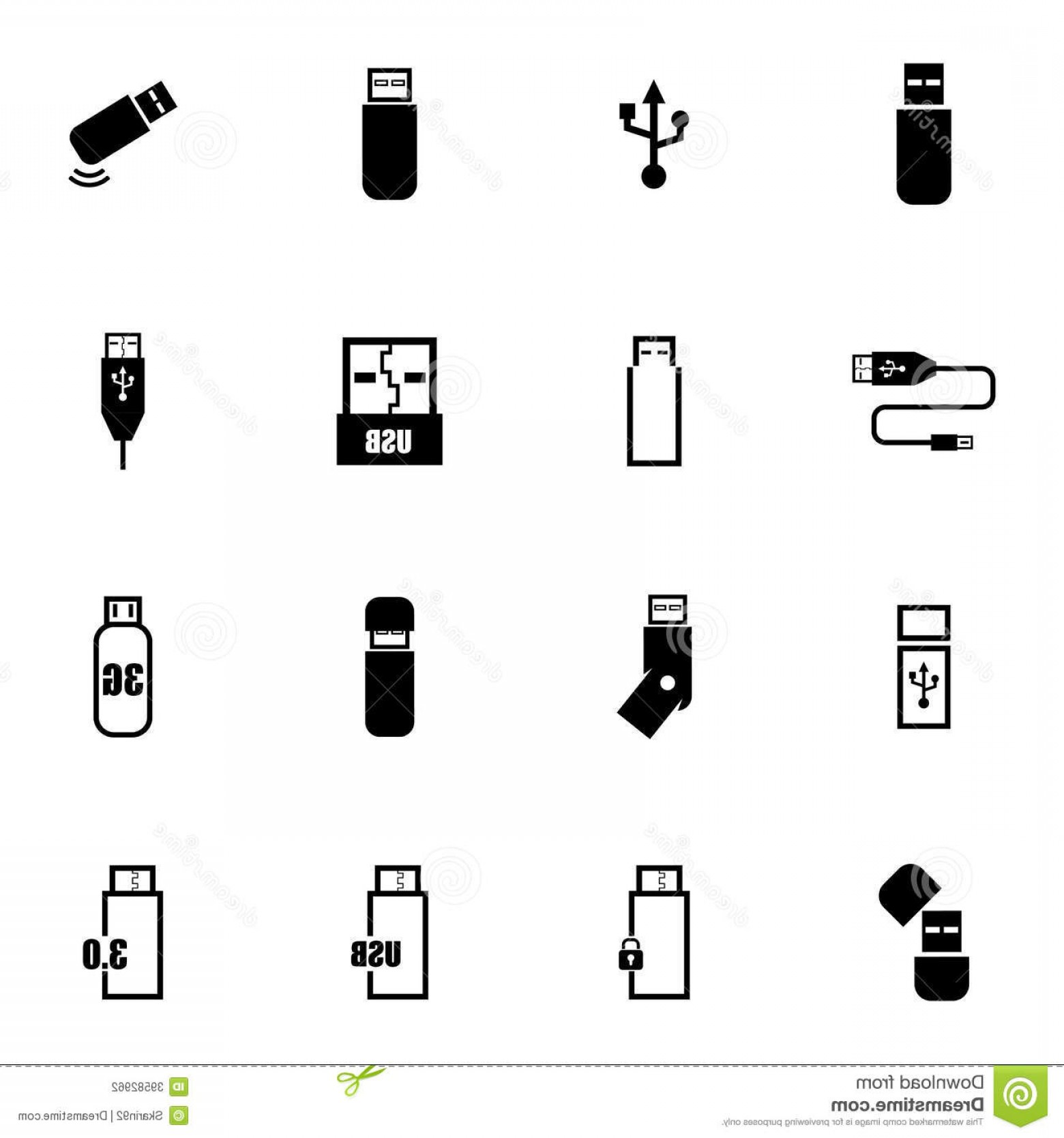 USB Icon Vector: Stock Photography Vector Black Usb Icons Set White Background Image