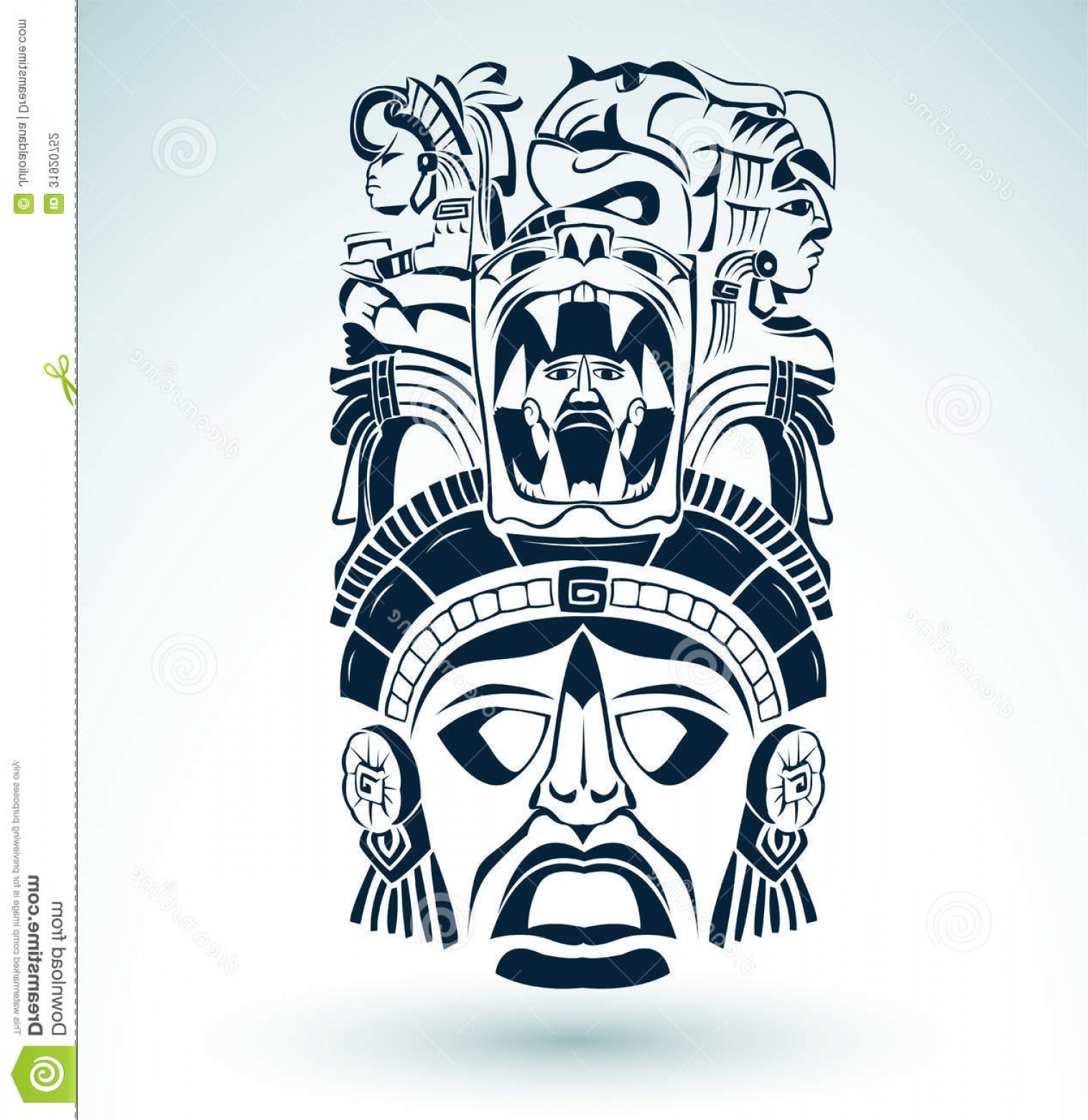Mayan Vector: Stock Photography Vector Mask Mexican Mayan Aztec Motifs Symbol Easy Edit Image