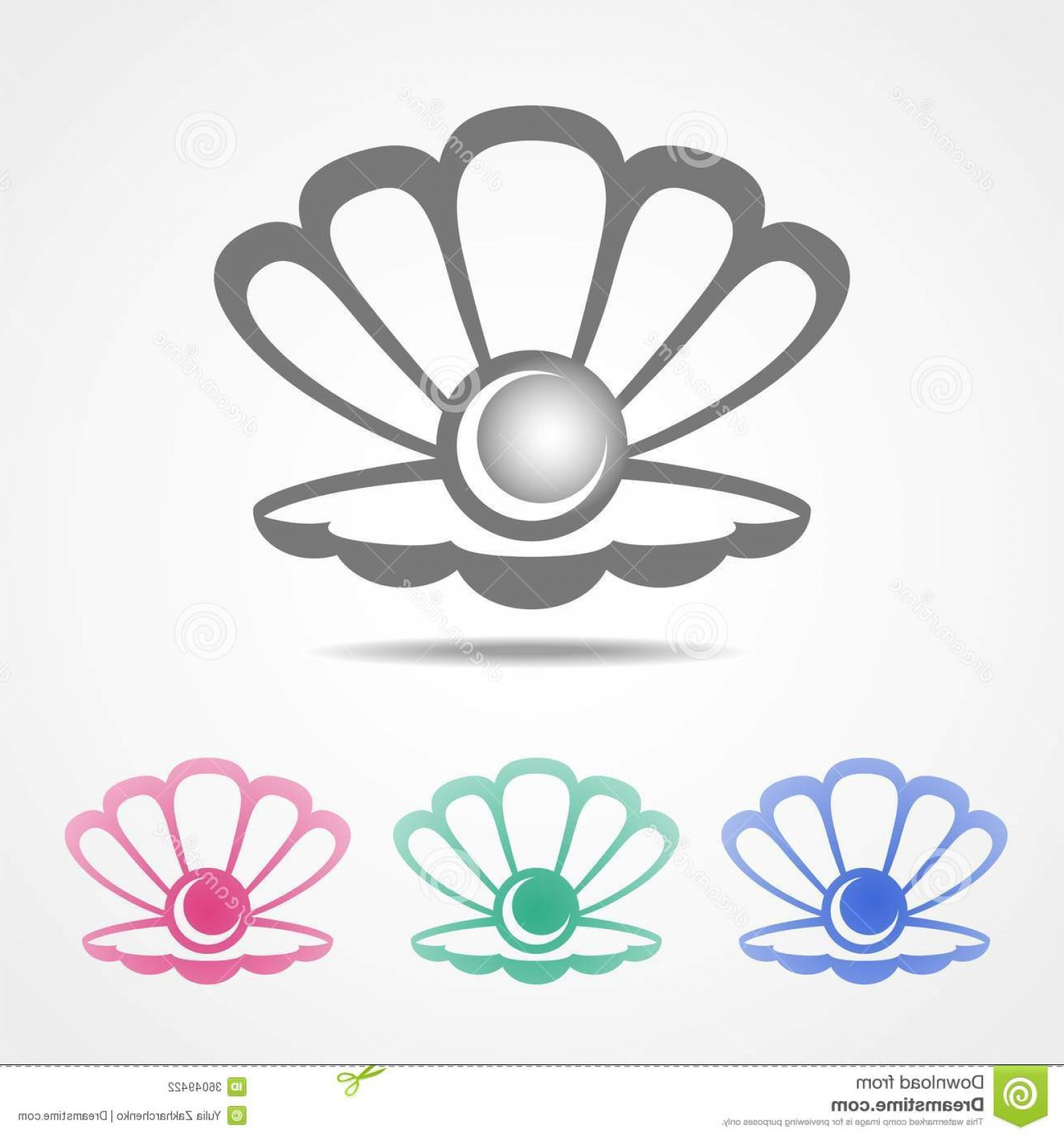 Shell Vector Icons: Stock Photography Vector Shell Icon Pearl Different Colors Inside Image