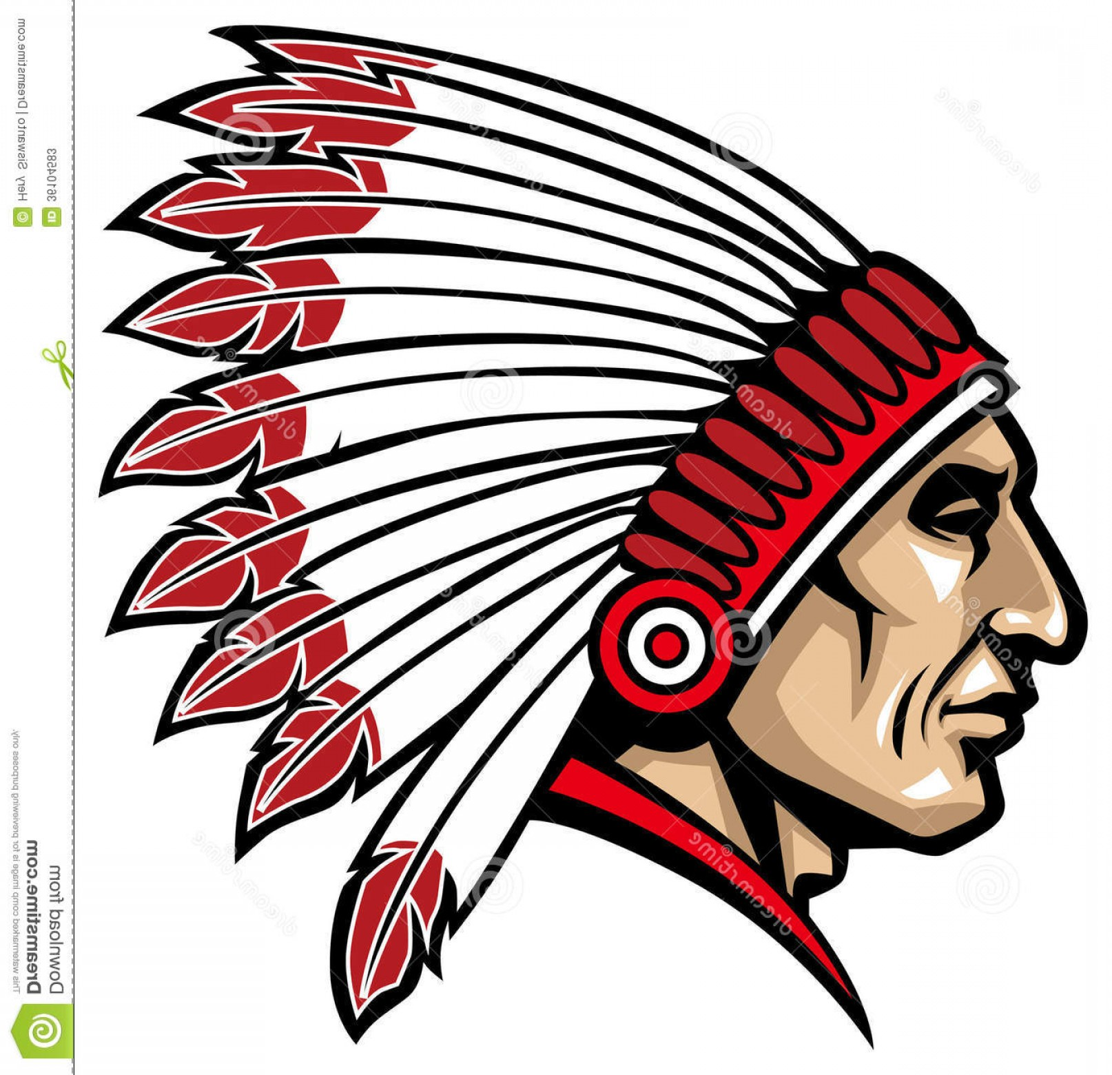 American Indian Chief Vector: Stock Photos American Native Chief Head Vector Indian Suitable As Mascot Sticker Print T Shirt Etc Image