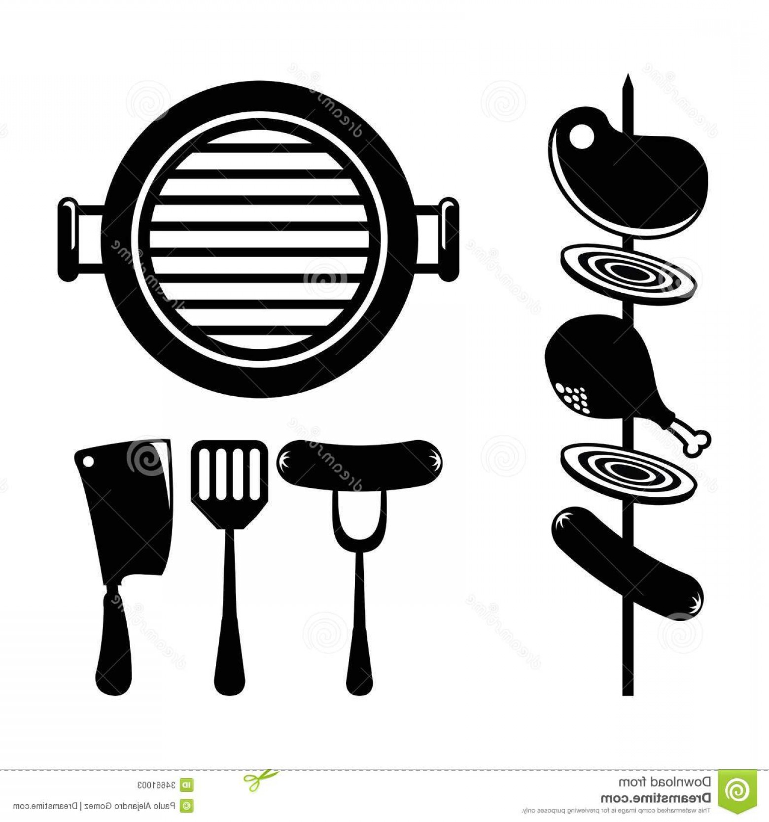 BBQ Grill Vector Black And White: Stock Photos Bbq Design Over White Background Vector Illustration Image