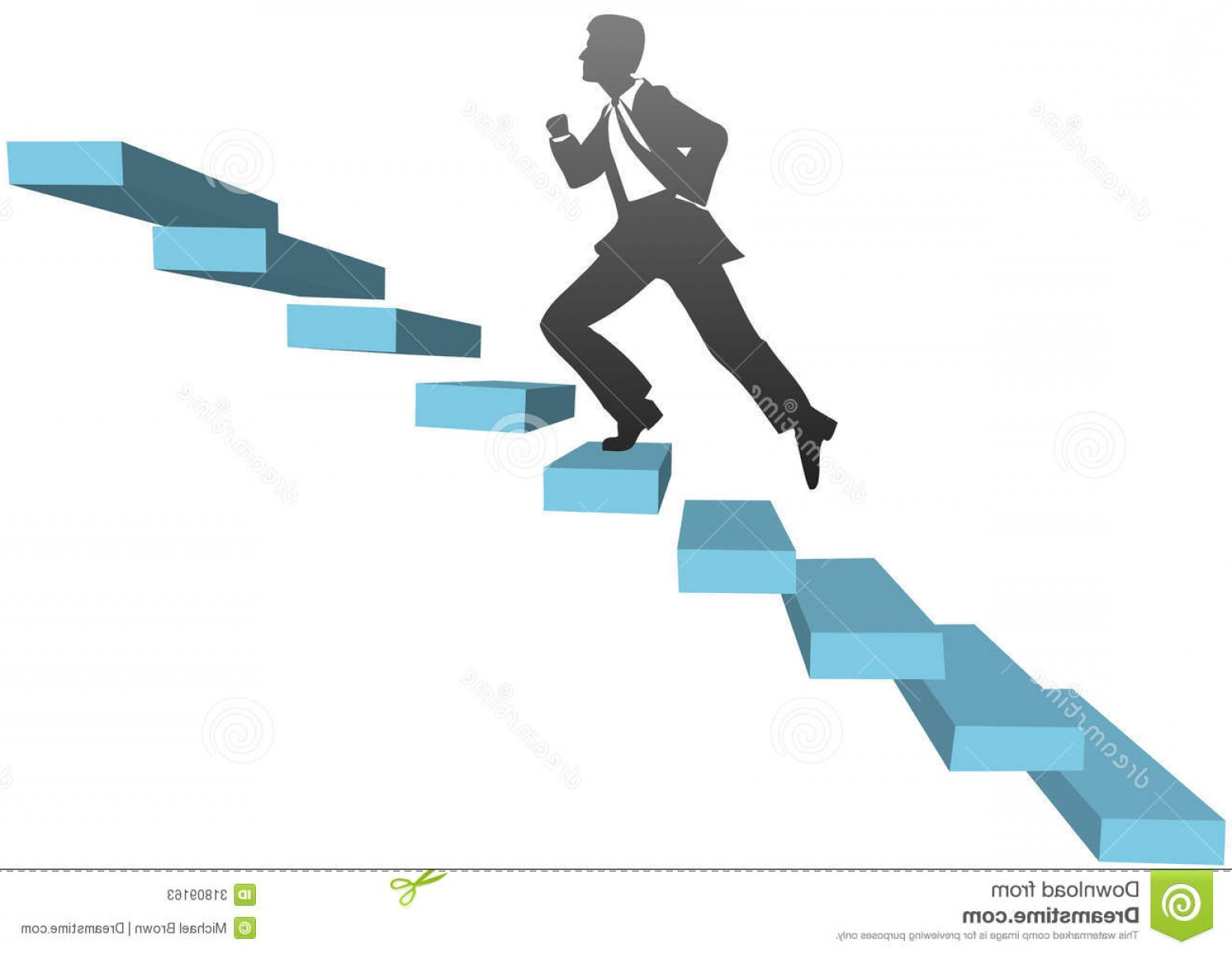 Stair Climb Vector: Stock Photos Business Man Running Climb Stairs Stylized Businessman Runs Up Challenge To Find Success Image