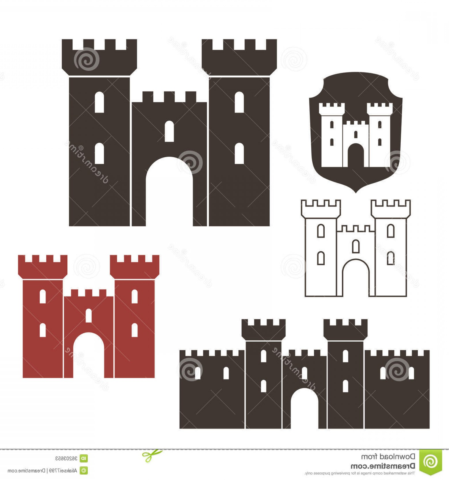 Disneyland Castle Vector: Stock Photos Castle Isolated Objects White Background Vector Illustration Eps Image