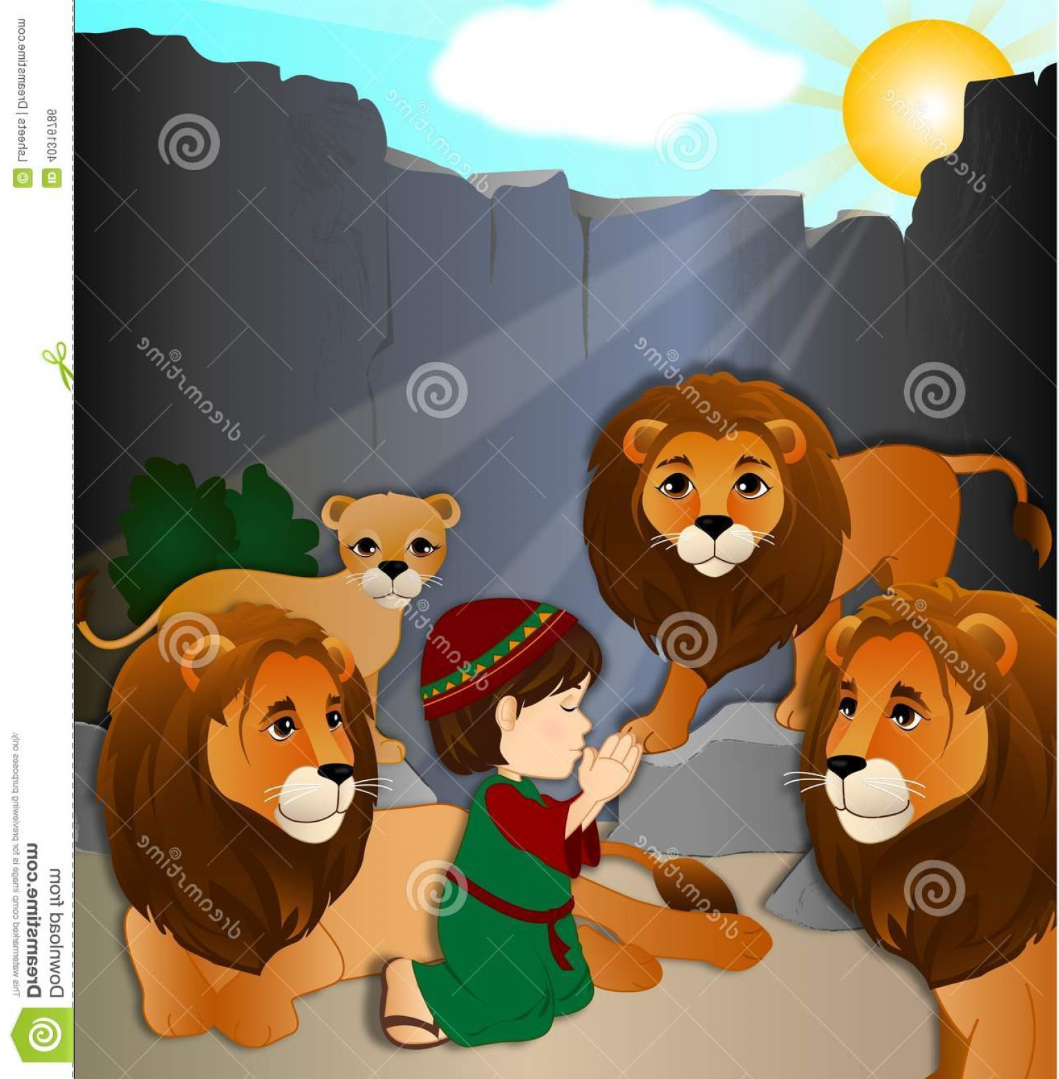 Faith Lions Vector Art Images: Stock Photos Daniel Lions Den Cartoon Bones Laying Not Worried Image